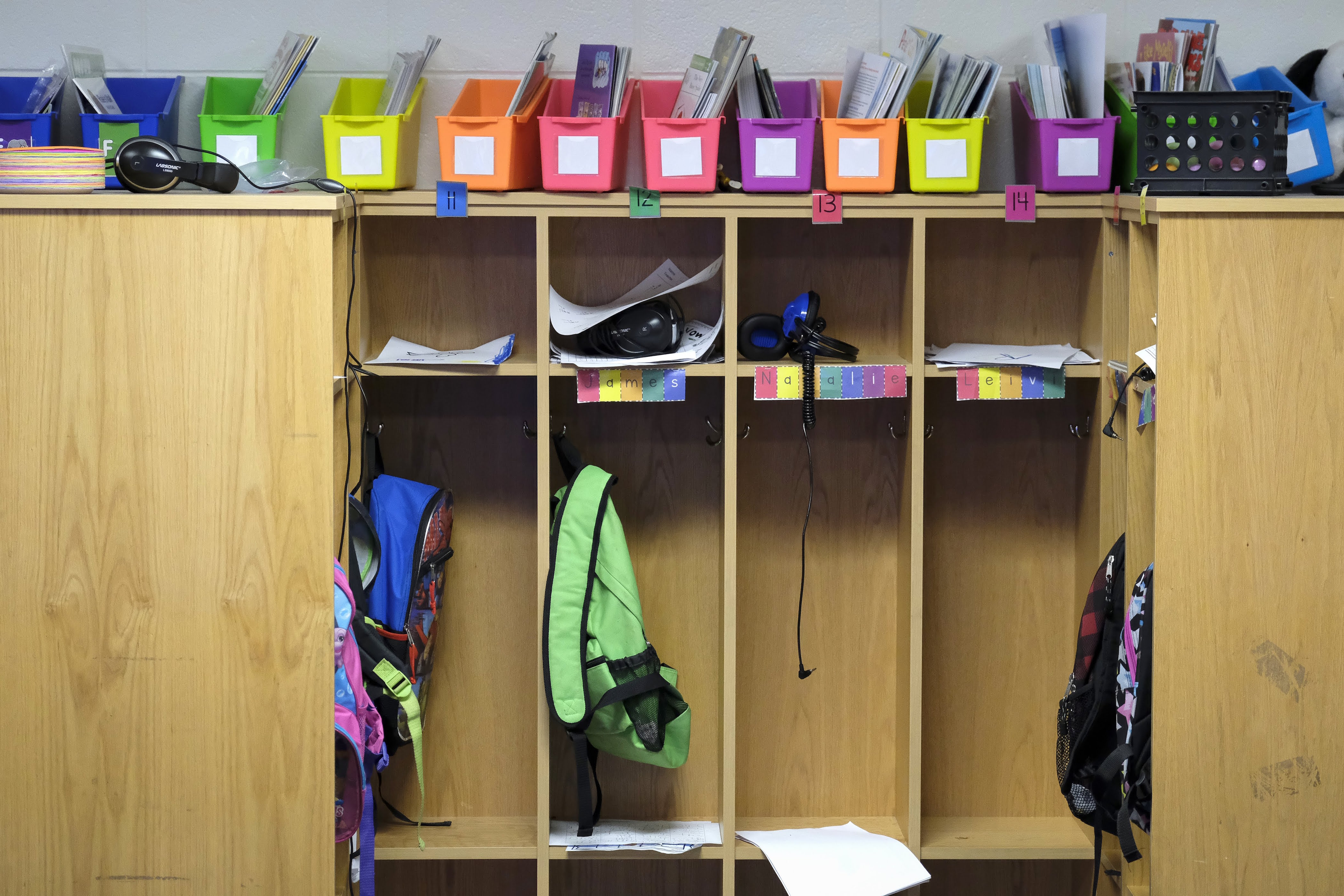 Student cubbies in a classroom Thomas Gregg Neighborhood School, an elementary school in Indianapolis, Indiana. —April, 2019— Photo by Alan Petersime/Chalkbeat