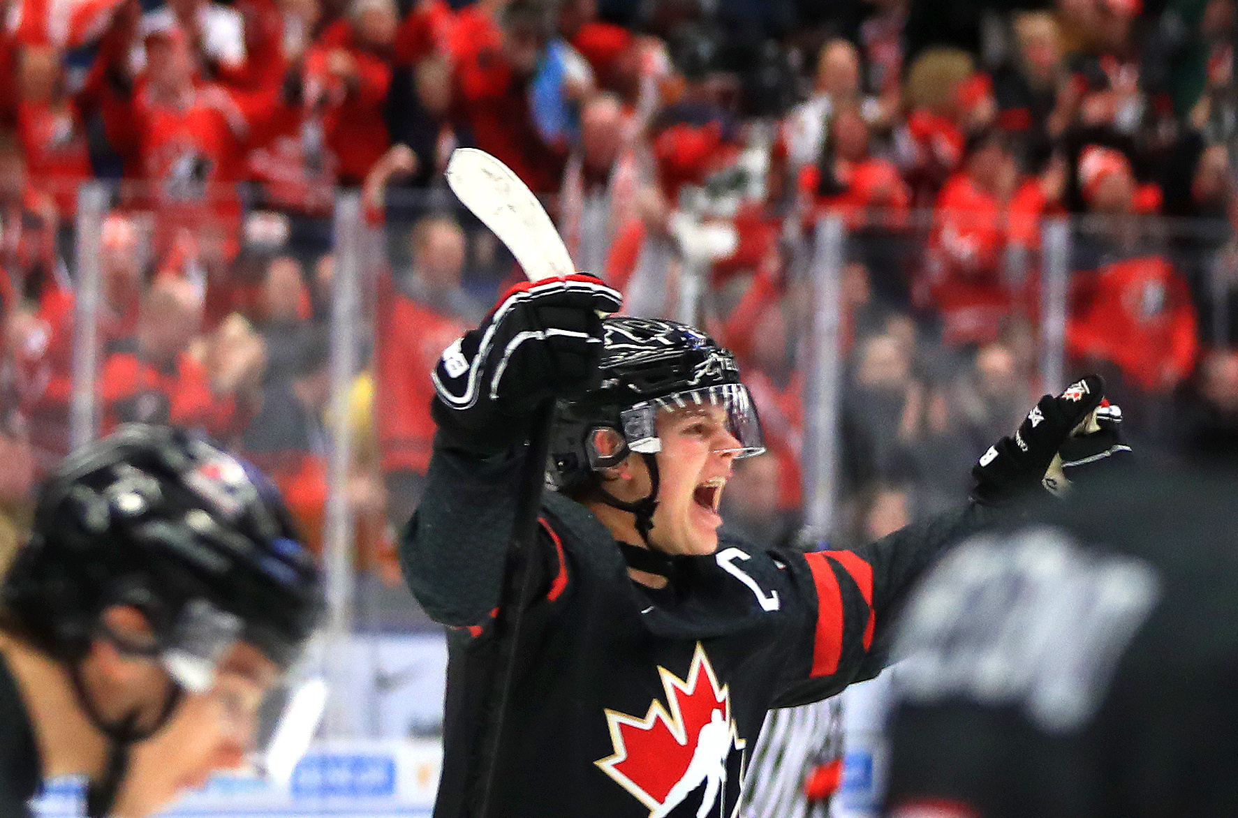 OSTRAVA, CZECH REPUBLIC - JANUARY 4, 2020: Canada's Connor McMichael celebrates scoring in the 2020 World Junior Ice Hockey Championship semifinal match against Finland at Ostravar Arena.