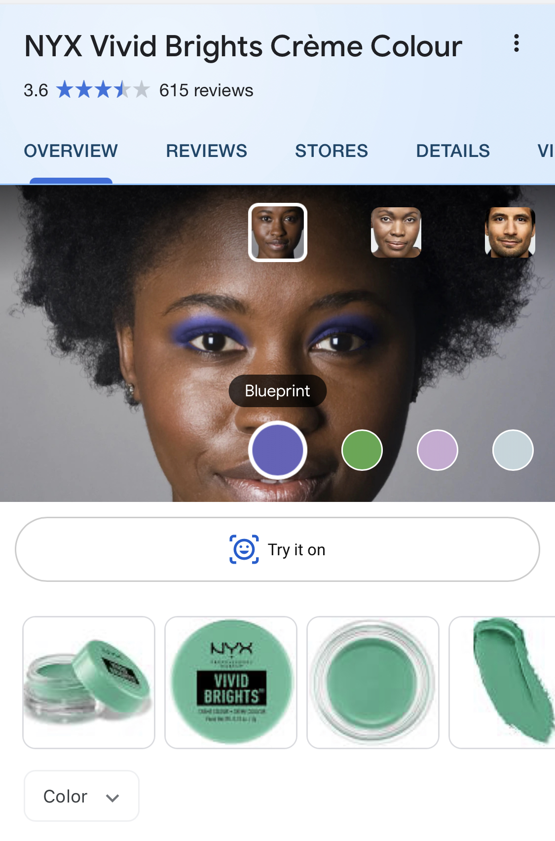 Image of the new model view and the Try it on button