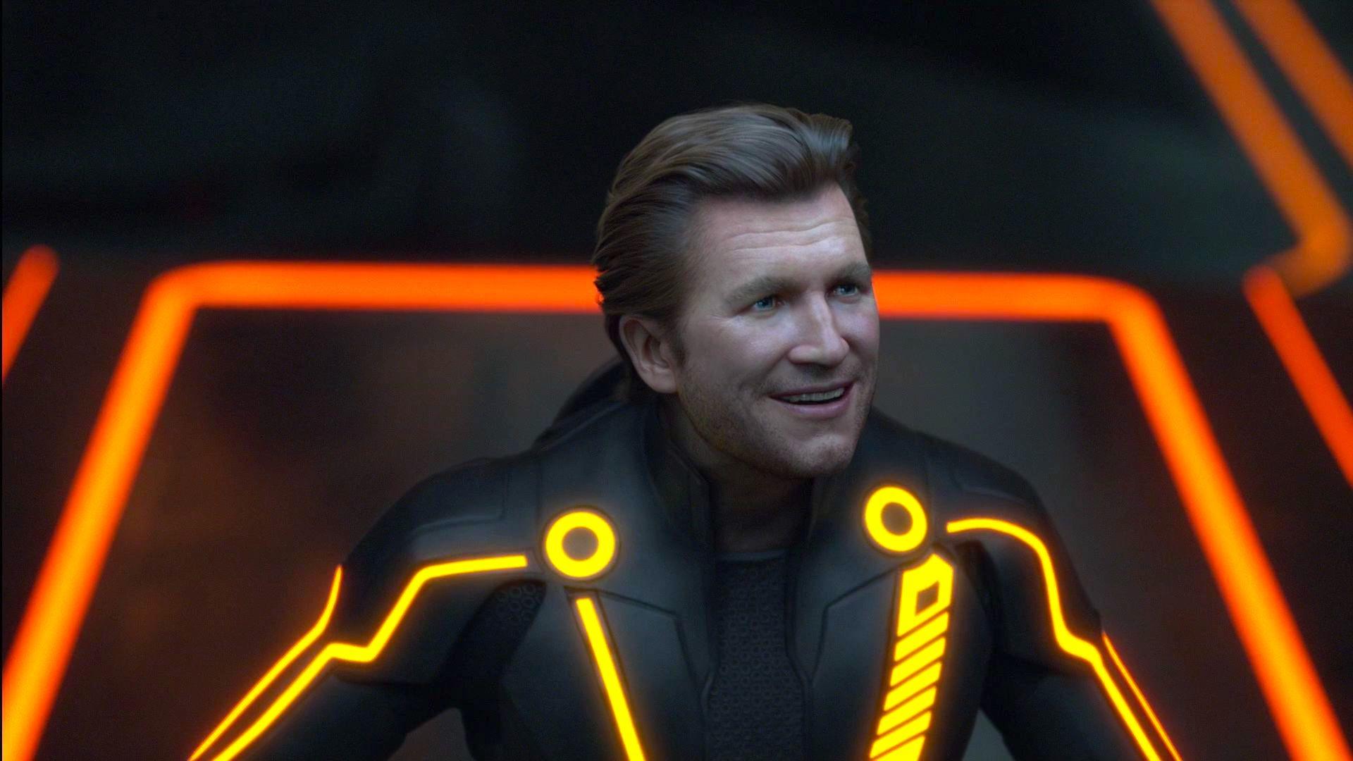 CLU aka digital Jeff Bridges smiles wide in Tron: Legacy