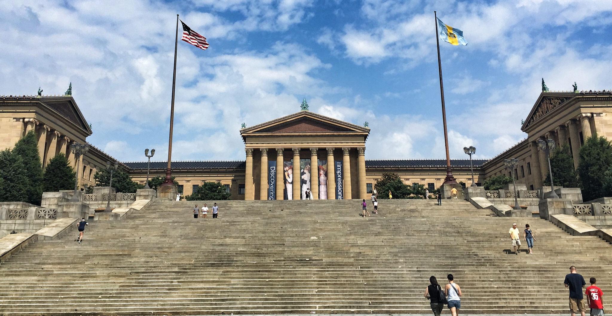 Steps outside the Philadelphia Museum of Art.