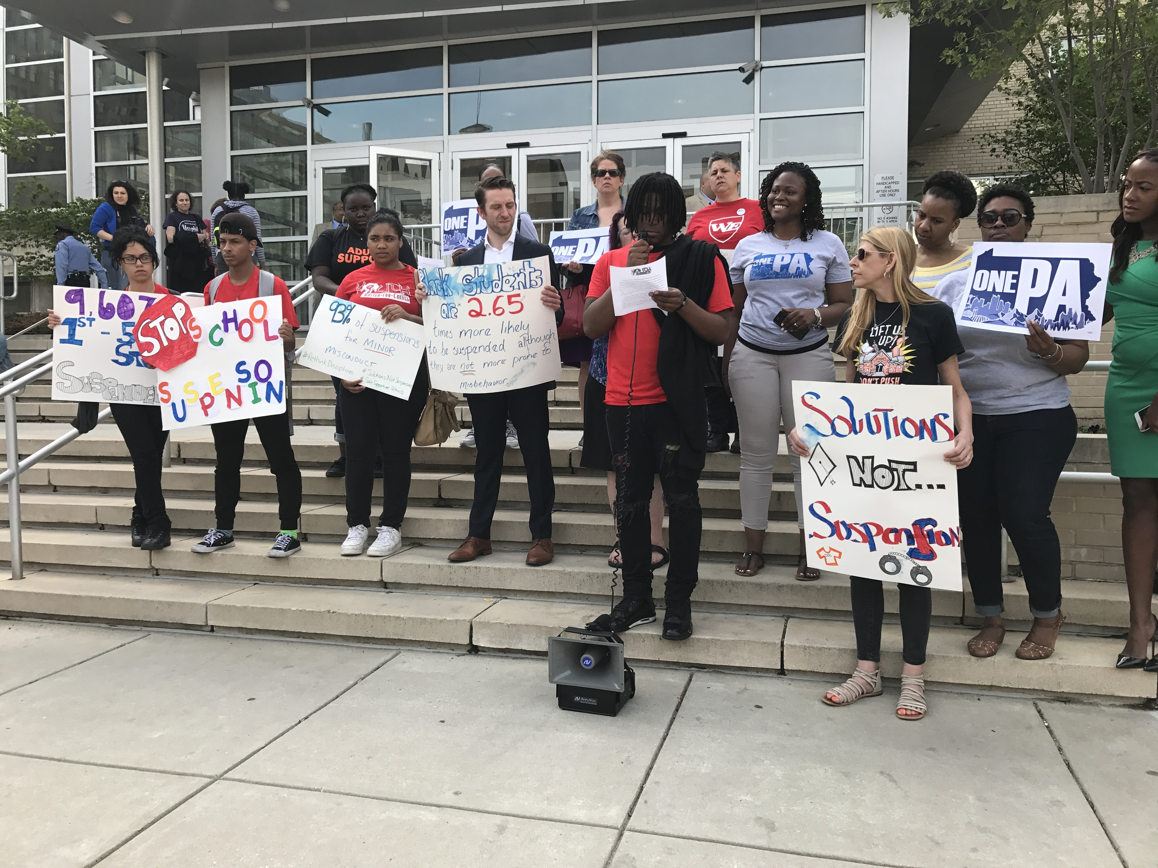 Students from Youth United for Change protested discipline policies in 2017 outside the District administration building.