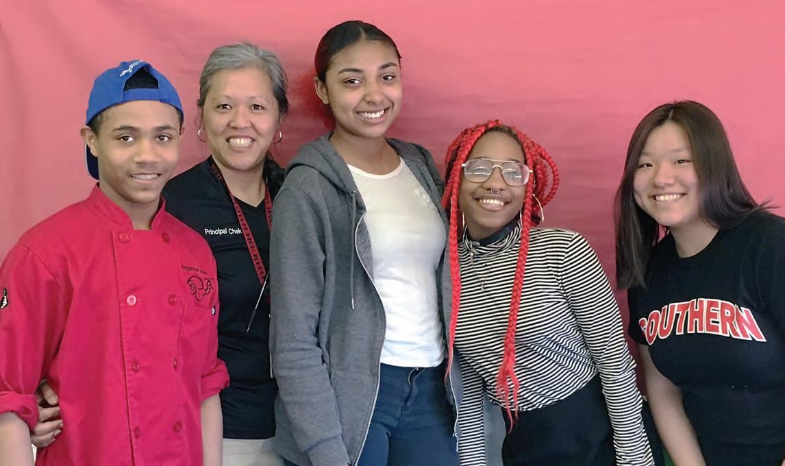 David Jones, Principal Kimlime Chek-Taylor, Amanda Strickland, Kayla Milton, and Christine Wu from South Philadelphia High School.