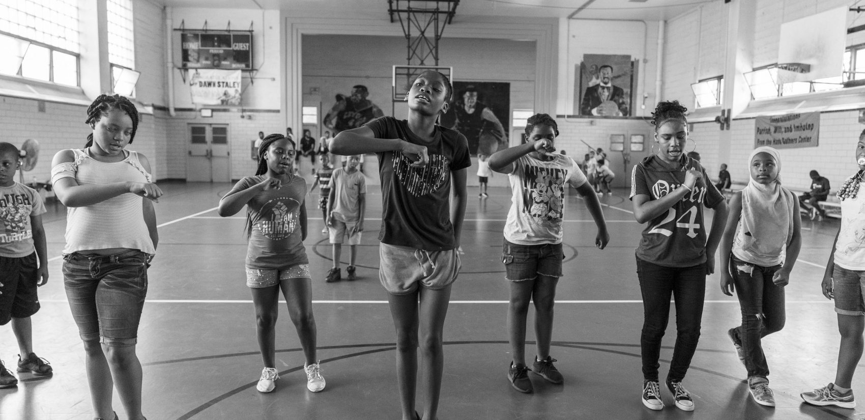 Girls practice a dance routine during day camp at Gathers in July 2018.