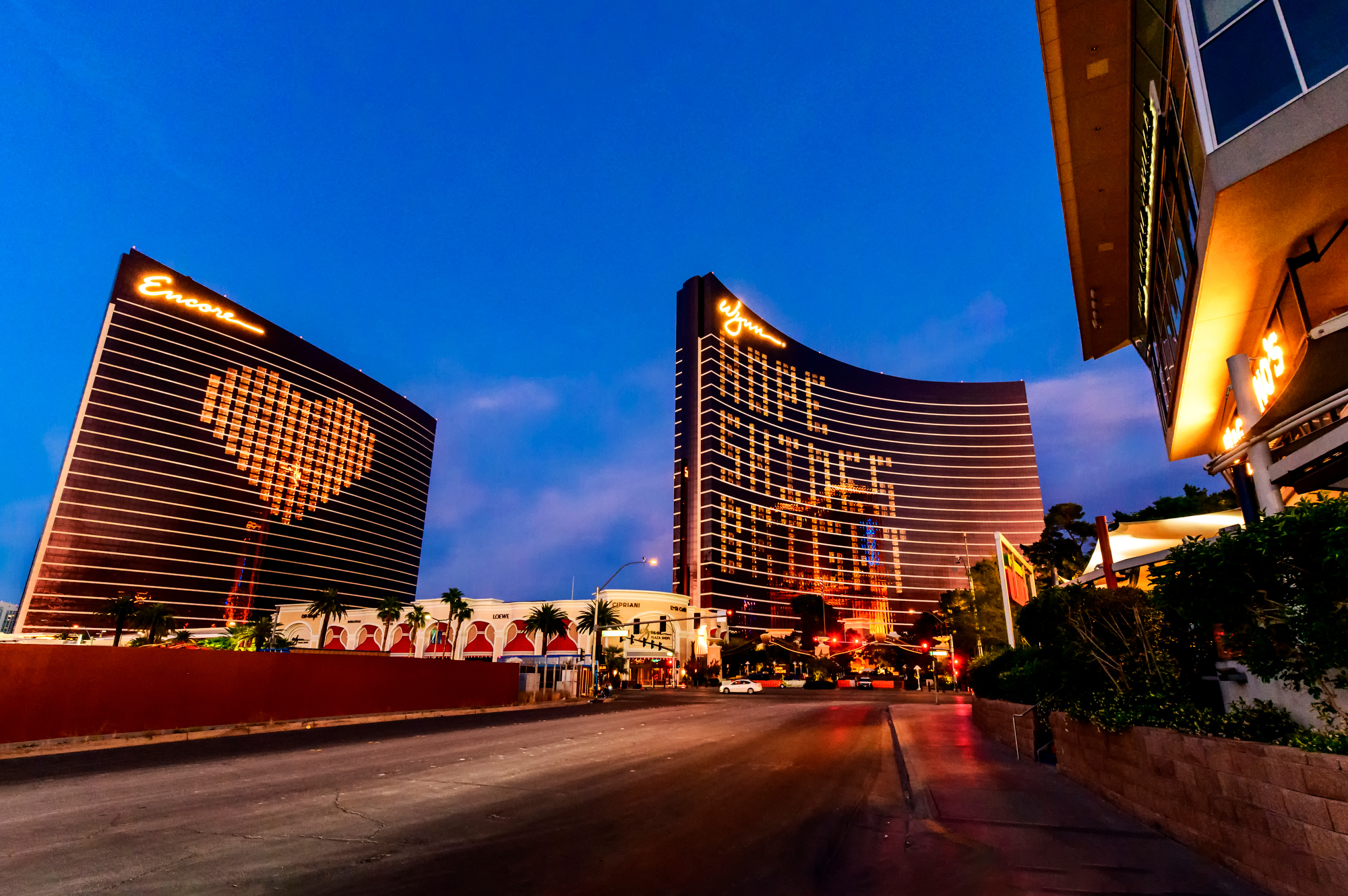 Two casinos with hearts in lights