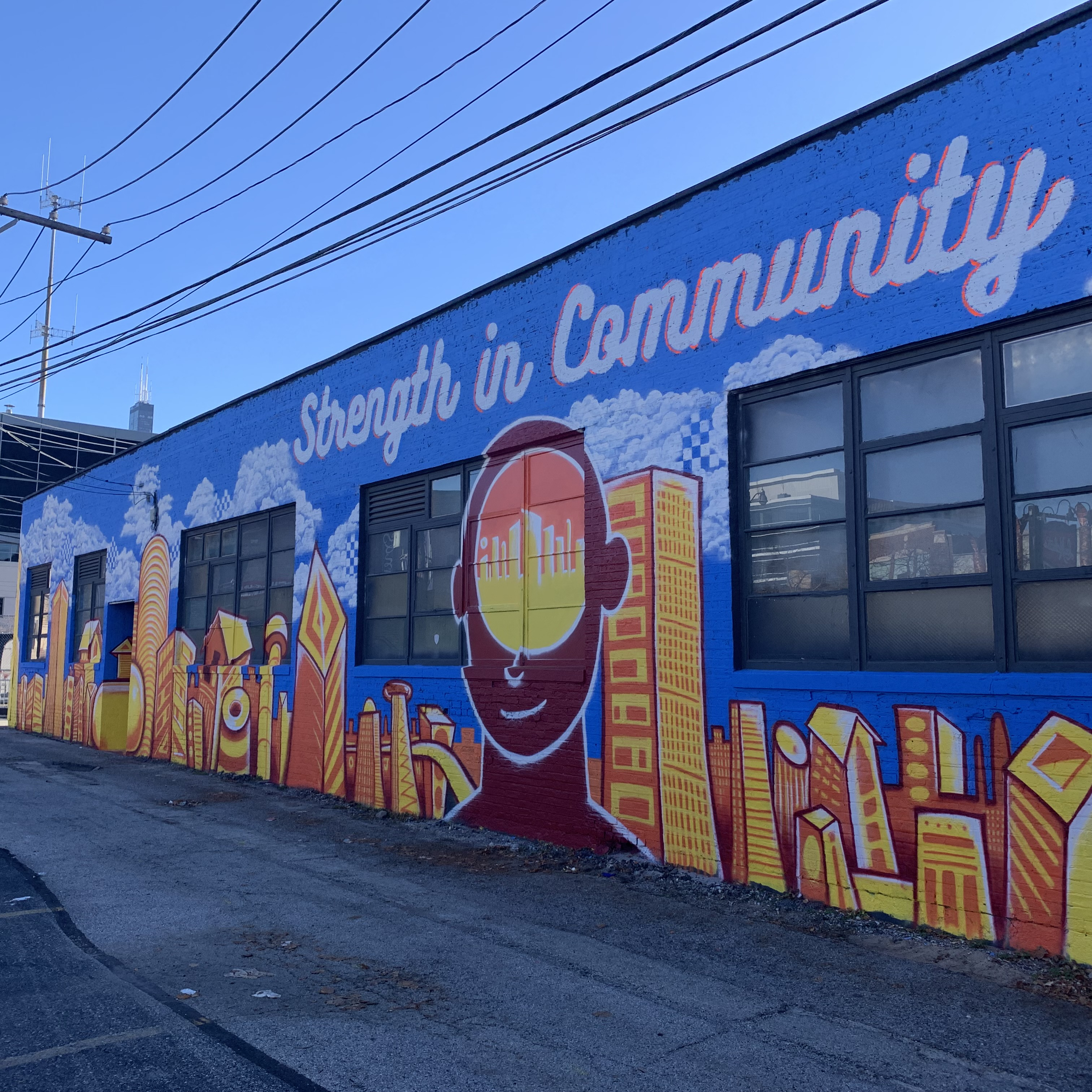 This new mural on the House of Vans building at 113 N. Elizabeth St. in the West Loop features the Chicago skyline and a message on the importance of mental health. It was completed this fall by artists O.J. Hays and Jae Webb.