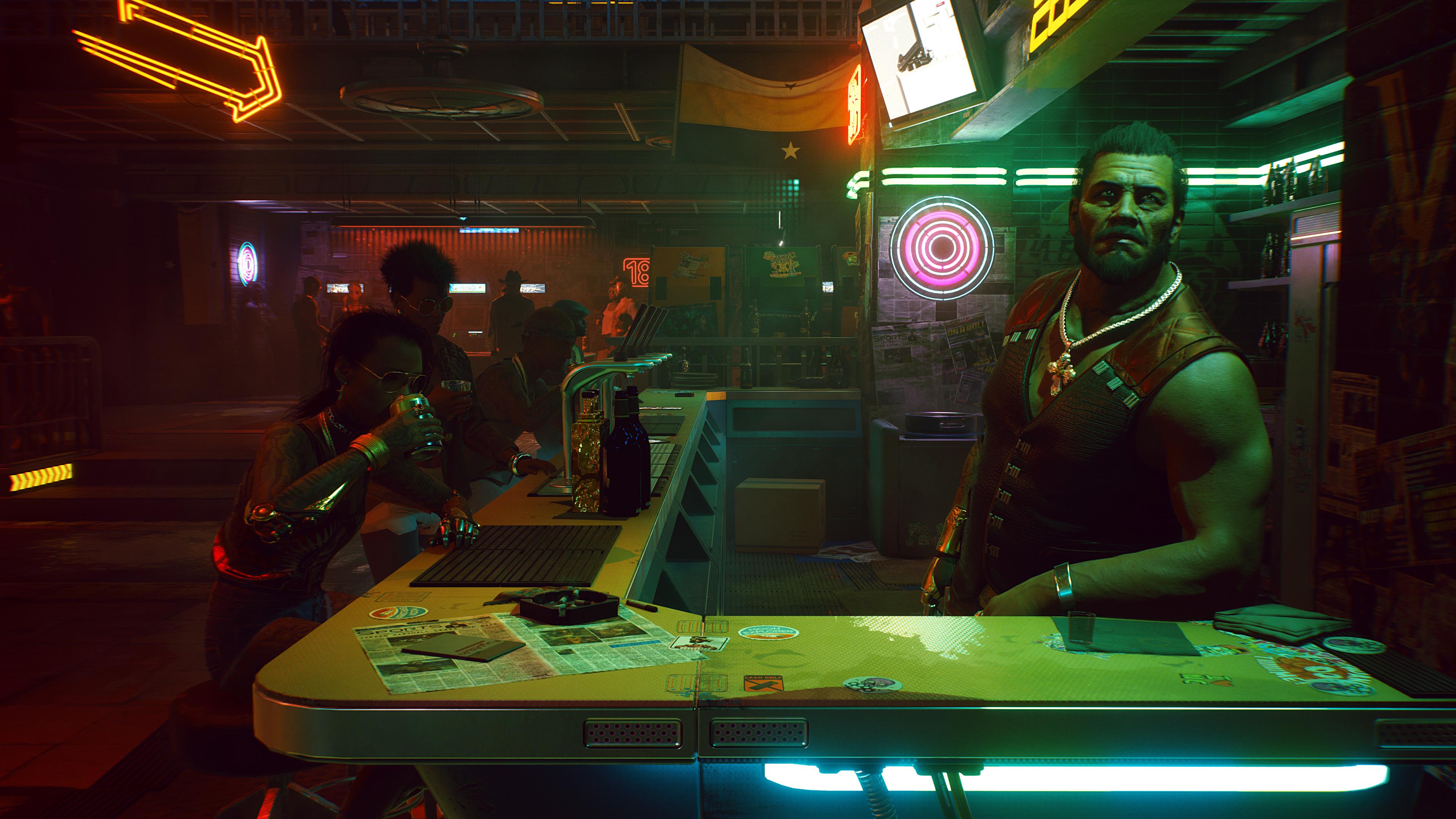 Man at a bar in Cyberpunk 2077