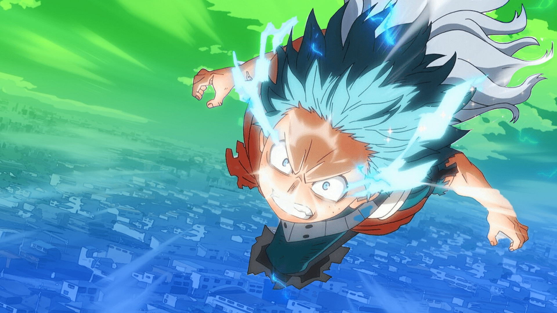 Anime character flying through the sky