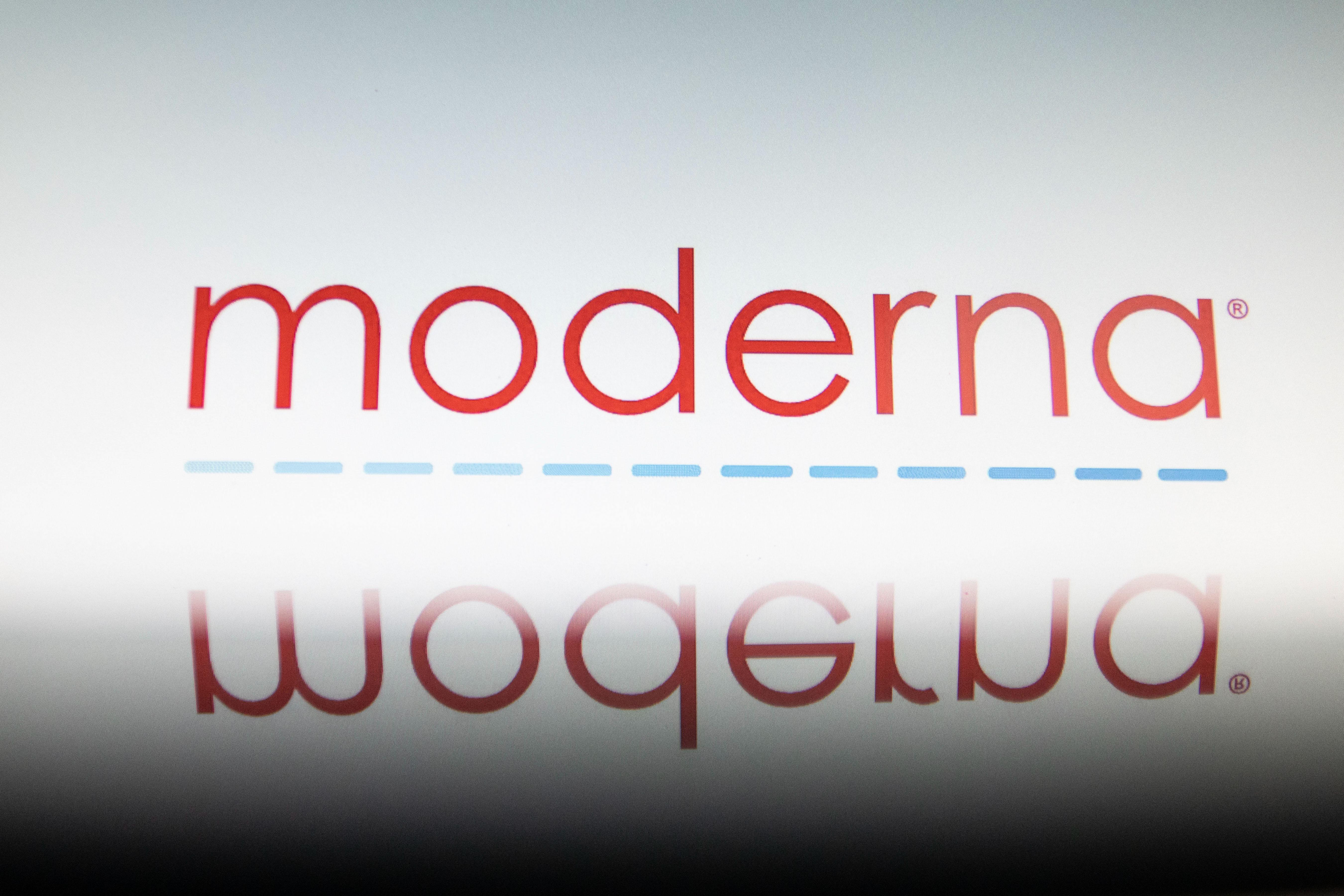Illustration Of Moderna Logo With A Syringe
