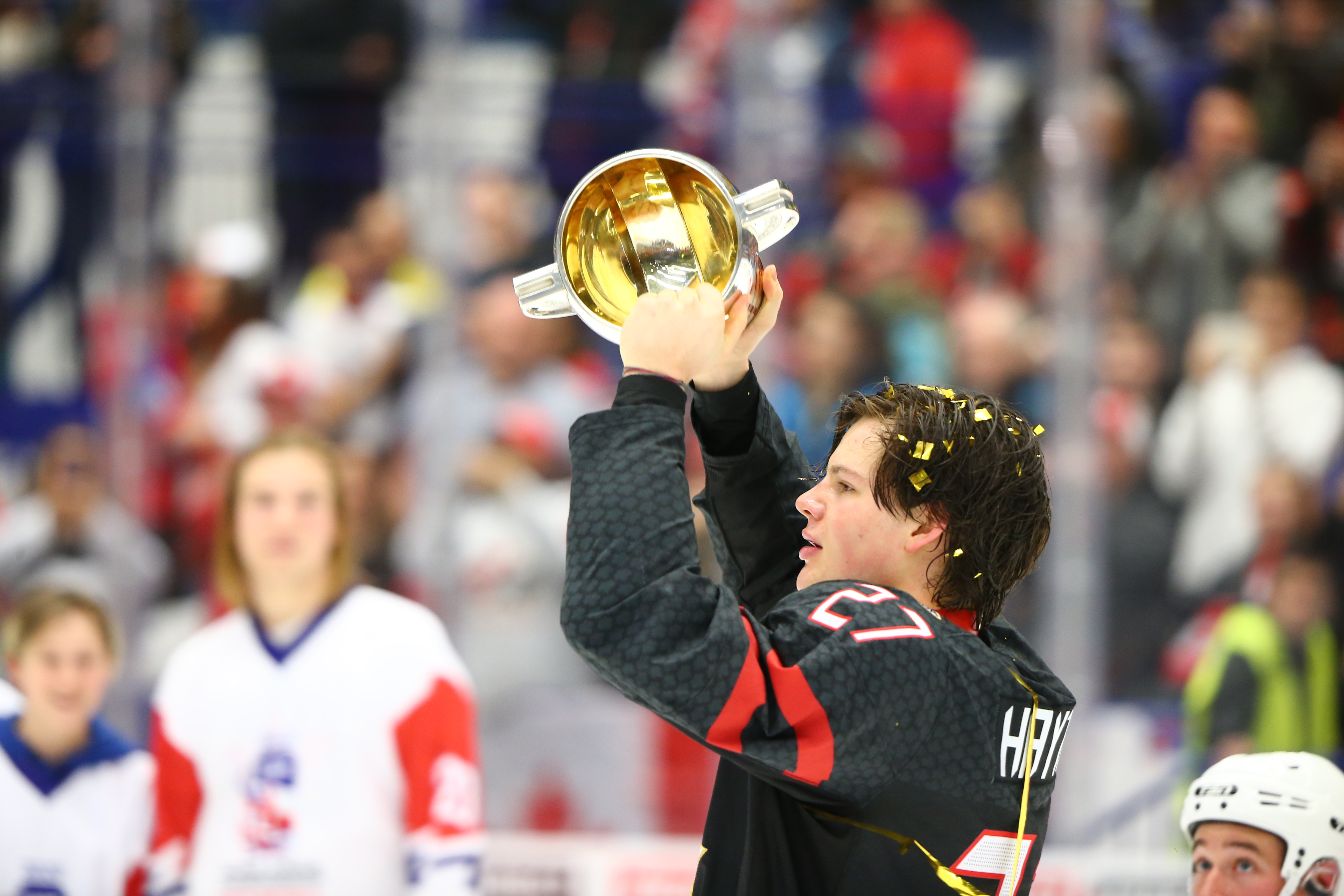 Canada's captain Barrett Hayton celebrates with the trophy during the medal ceremony for the 2020 World Junior Ice Hockey Championship final match between Canada and Russia at Ostravar Arena; Canada won 4-3.