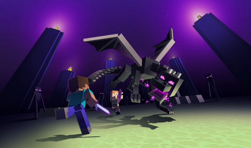 Steve and Alex fight the Ender Dragon in Minecraft