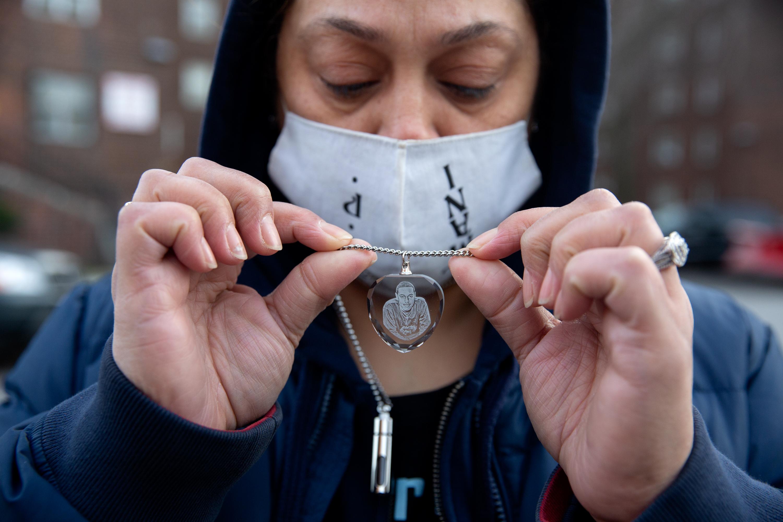 Maria Gonzalez's son, Armani Hamilton, 22, was fatally shot in Crown Heights during the summer, Dec. 15, 2020.