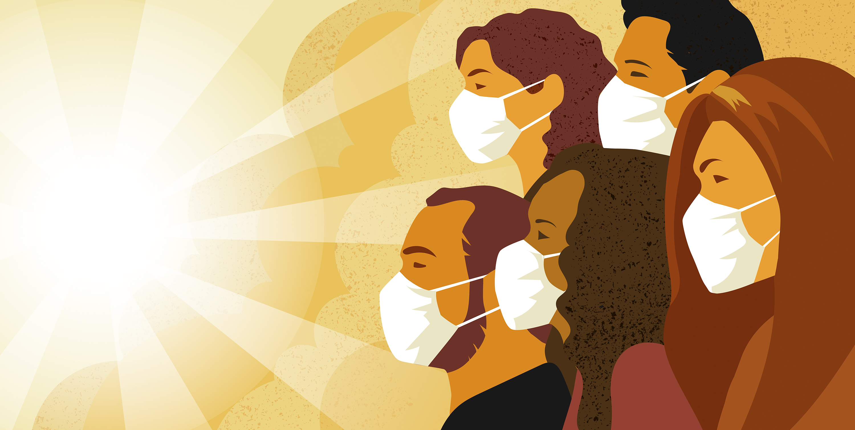 An illustration of people in breathing masks facing a shining sun.