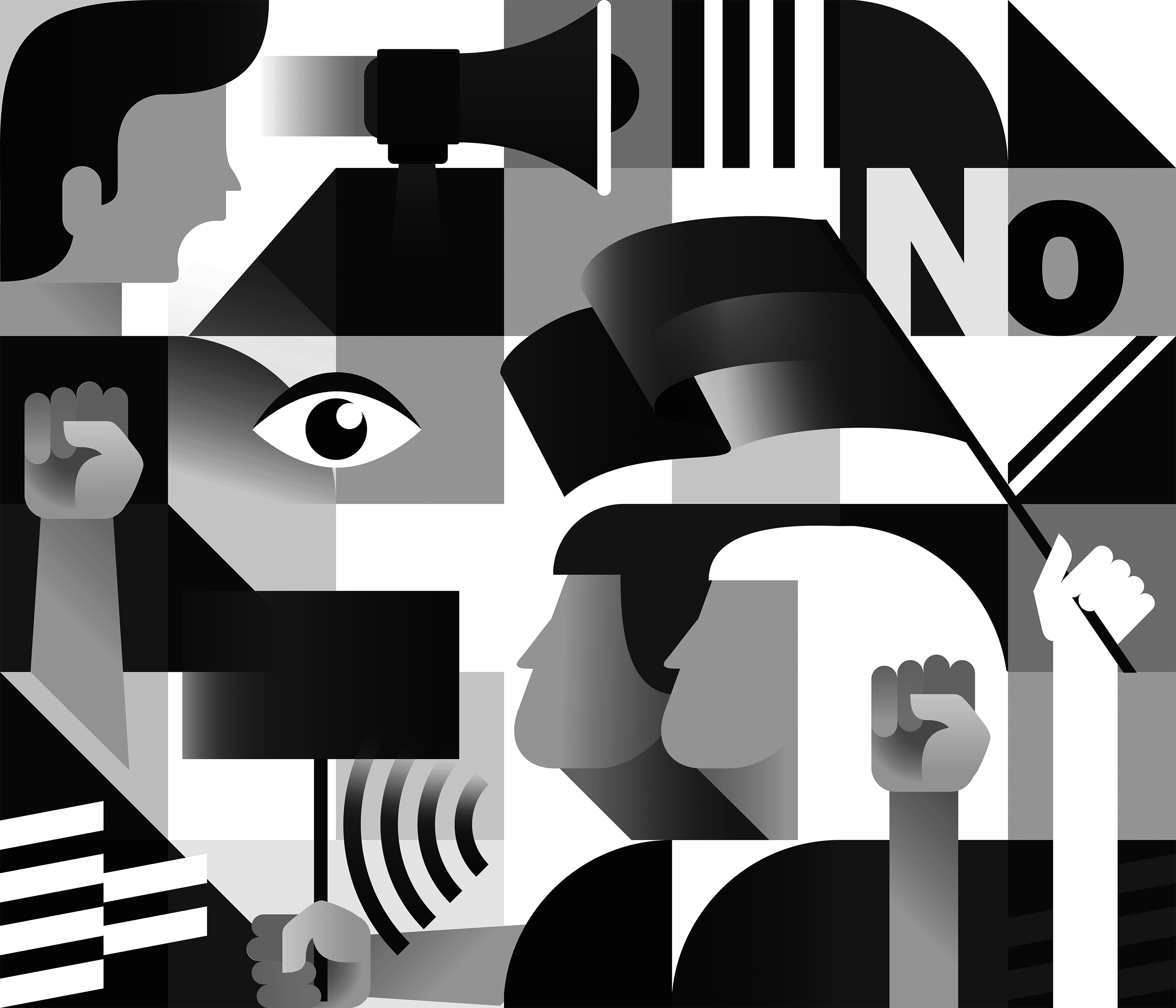 A black and white collage that includes shapes and other symbols.