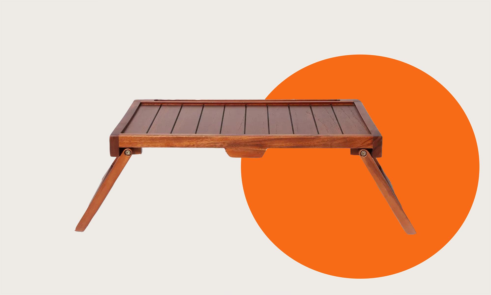 A wood breakfast tray