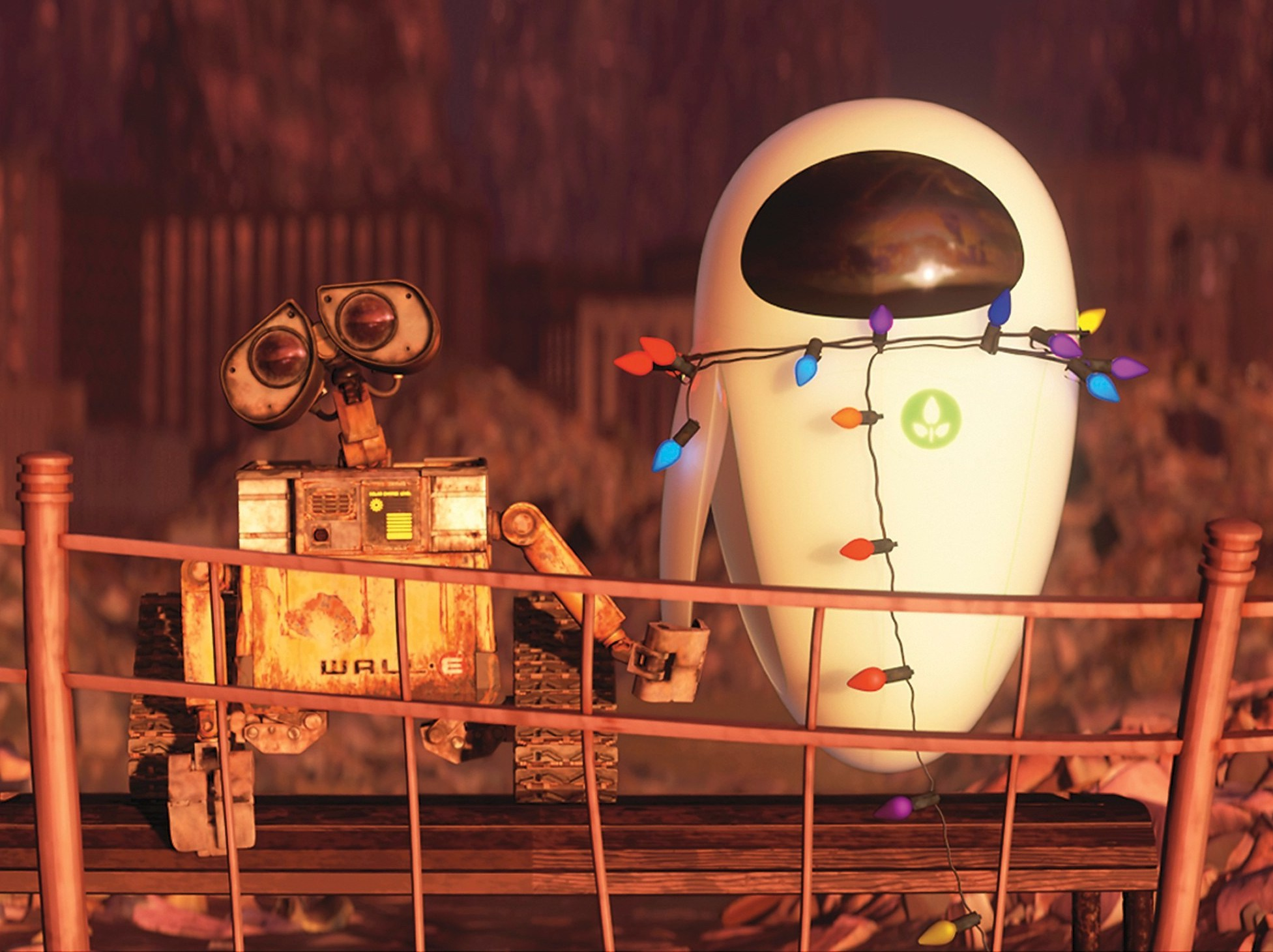 Wall-E and Eve from the movie Wall-E.