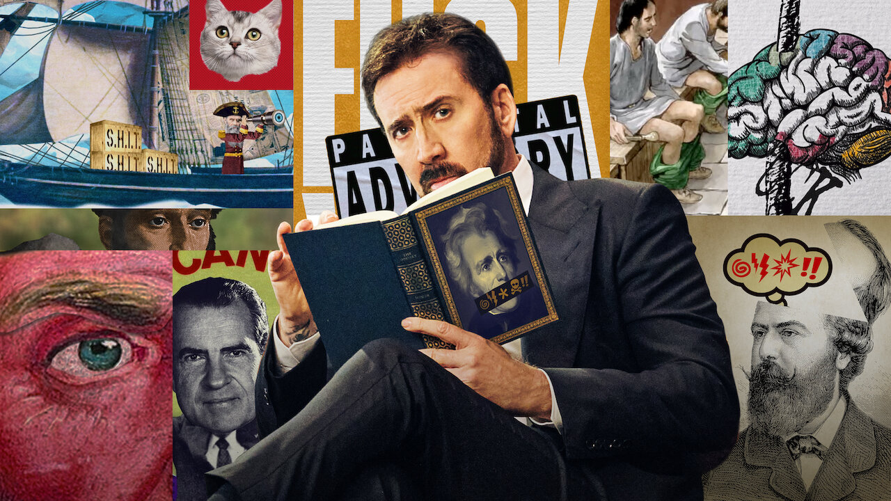 Nicolas Cage reading a book about swearing