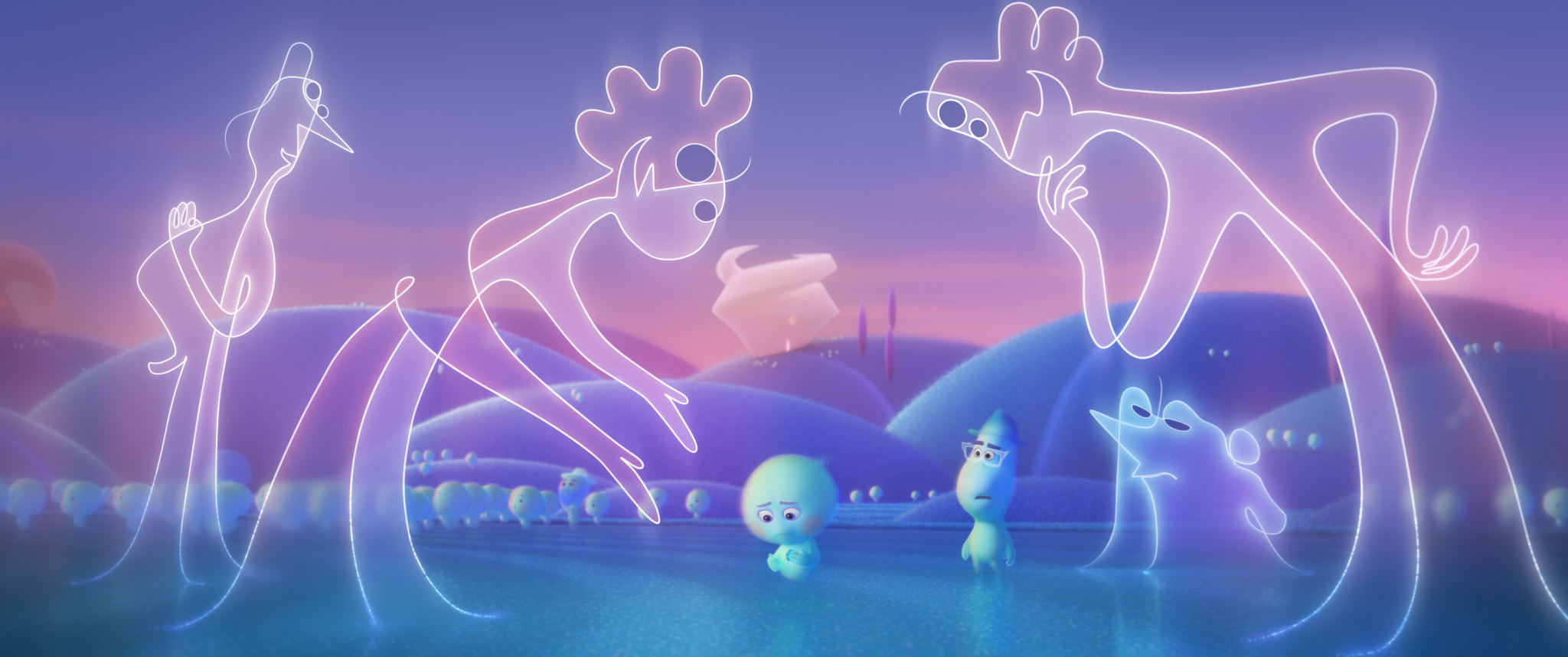 Small blue characters walk around beneath giant line-drawn characters.