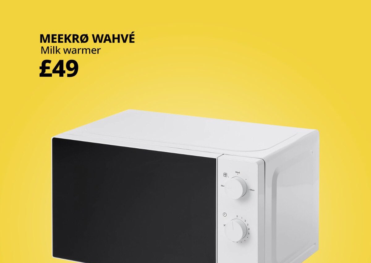 A picture of a microwave on a yellow background, with a spoof labelling of Meekro Wahve, (milk warmer,) in tribute to Nigella Lawson