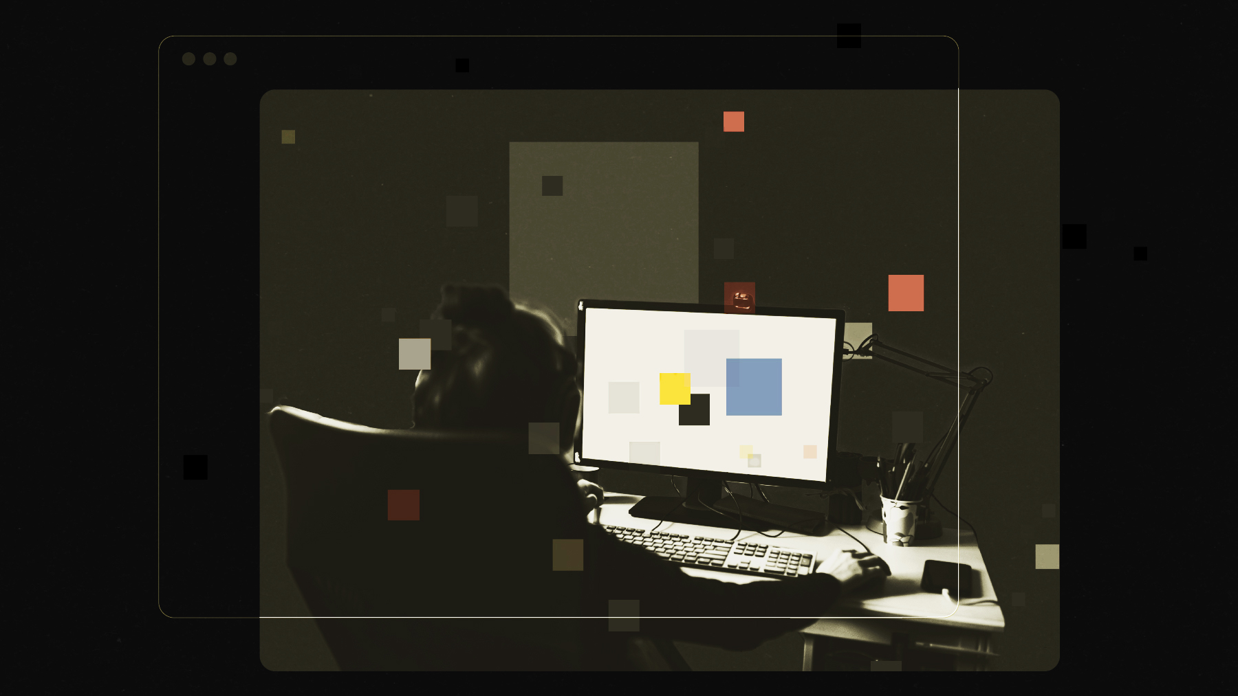 An illustration of a person sitting in a dark room looking at a desktop computer screen.