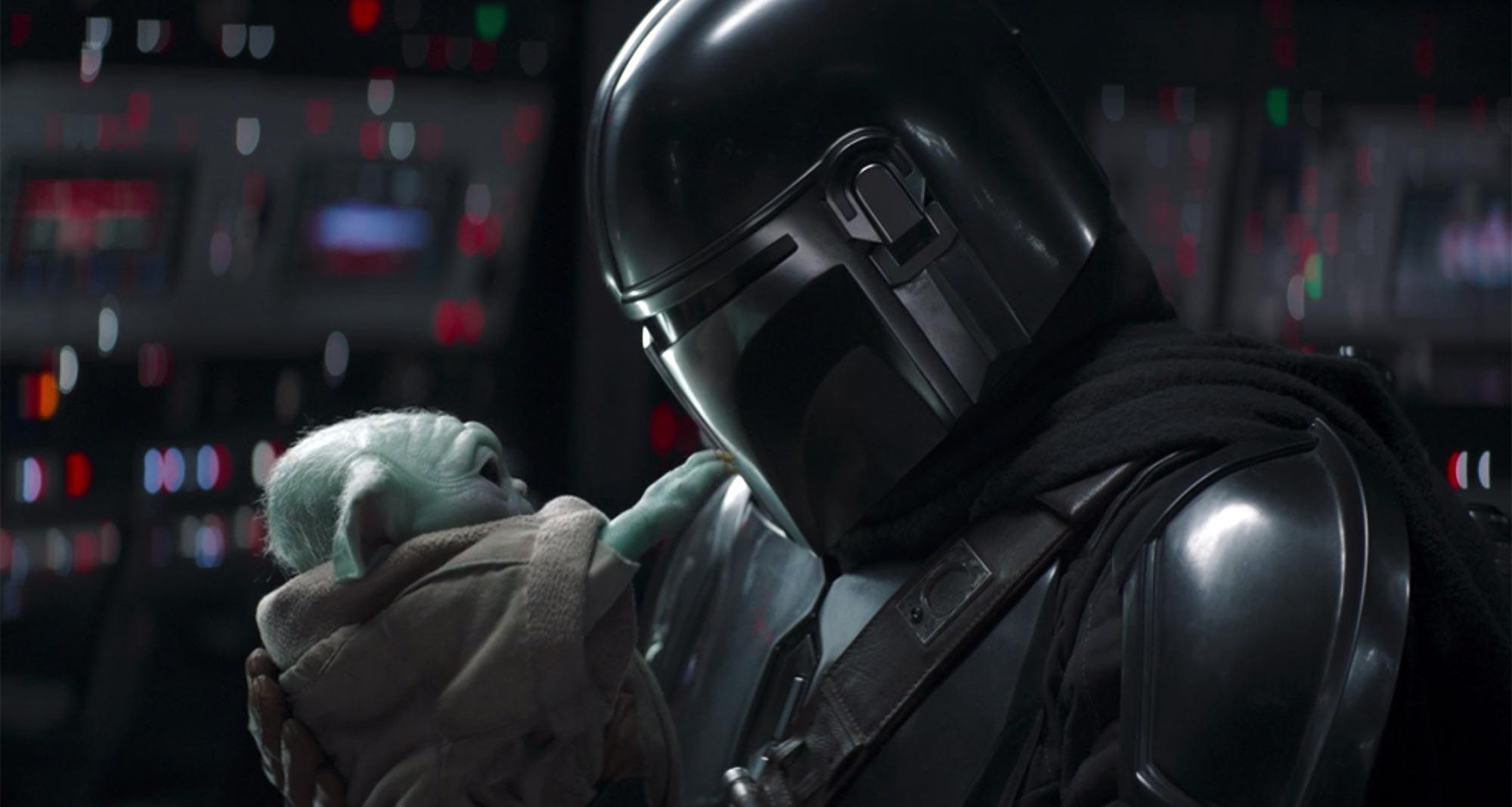The Mandalorian cradles Grogu, a.k.a. Baby Yoda, before sending him off to train with Luke Skywalker.