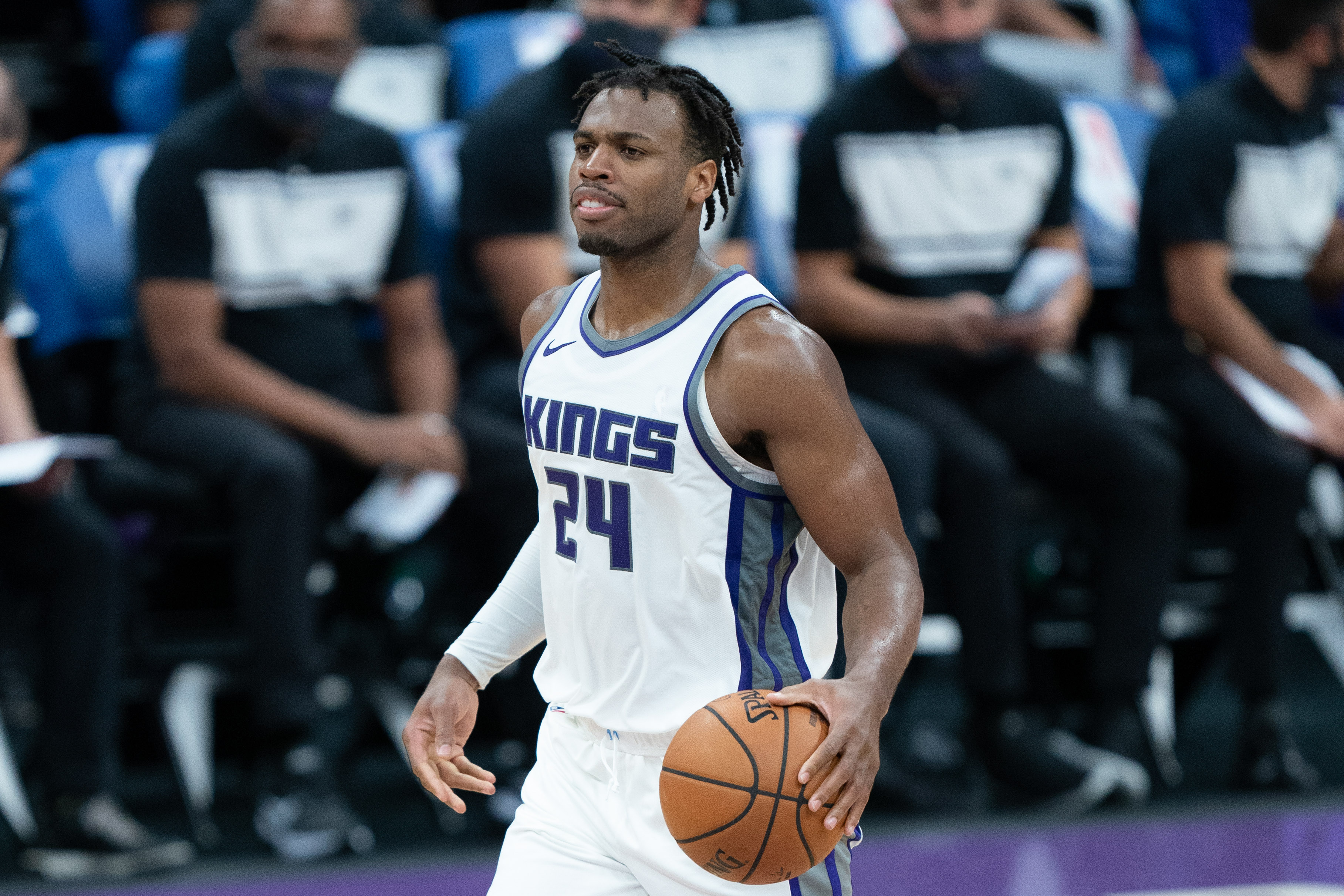 Sacramento Kings guard Buddy Hield during the third quarter against the Golden State Warriors at Golden 1 Center.