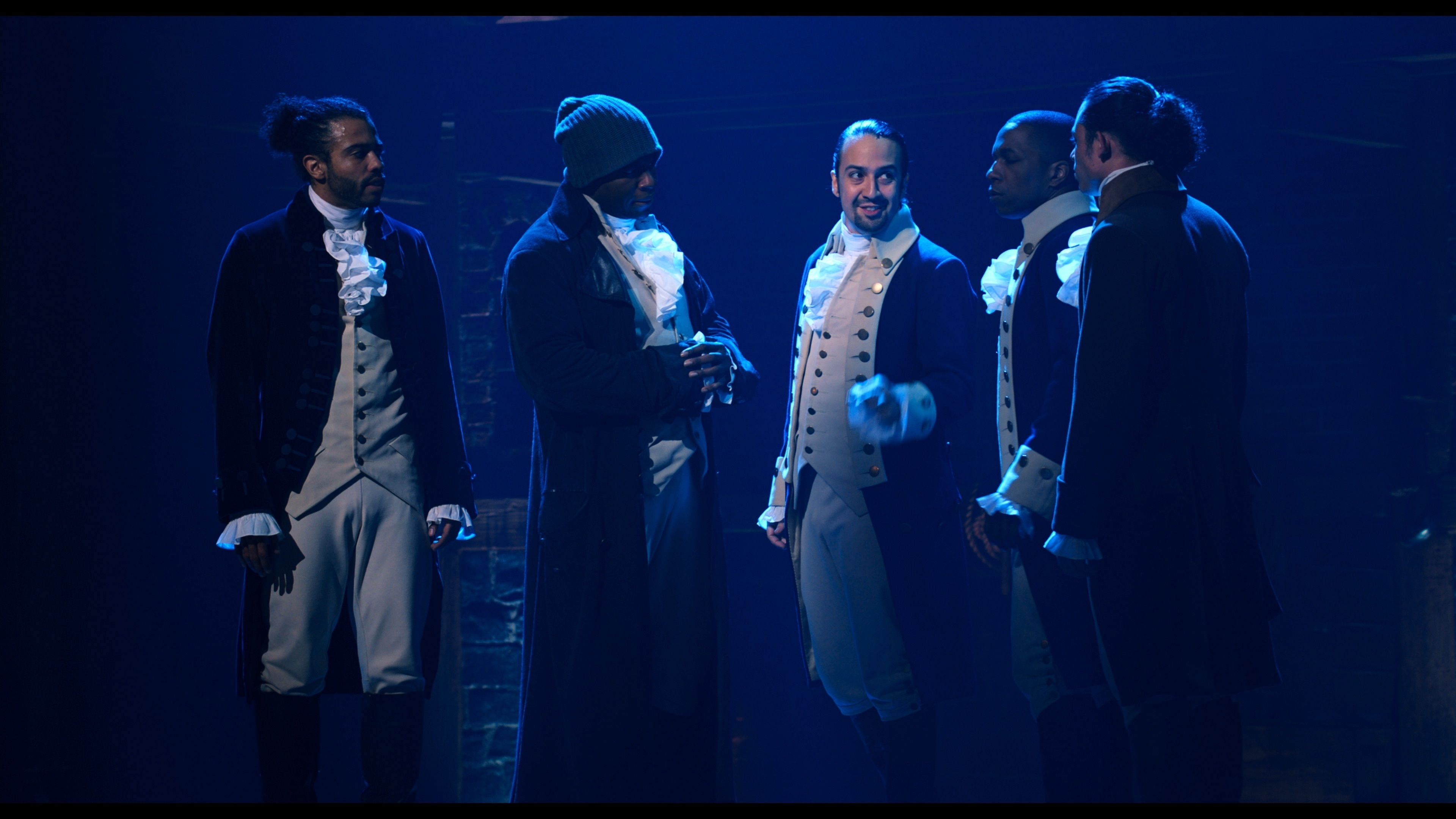 """Daveed Diggs is Marquis de Lafayette, Okieriete Onaodowan is Hercules Mulligan, Lin-Manuel Miranda is Alexander Hamilton, Leslie Odom Jr. is Aaron Burr and Anthony Ramos is John Laurens in """"Hamilton,"""" the filmed version of the original Broadway production. Aug. 6, 2020, marks 5 years since the musical opened on Broadway."""
