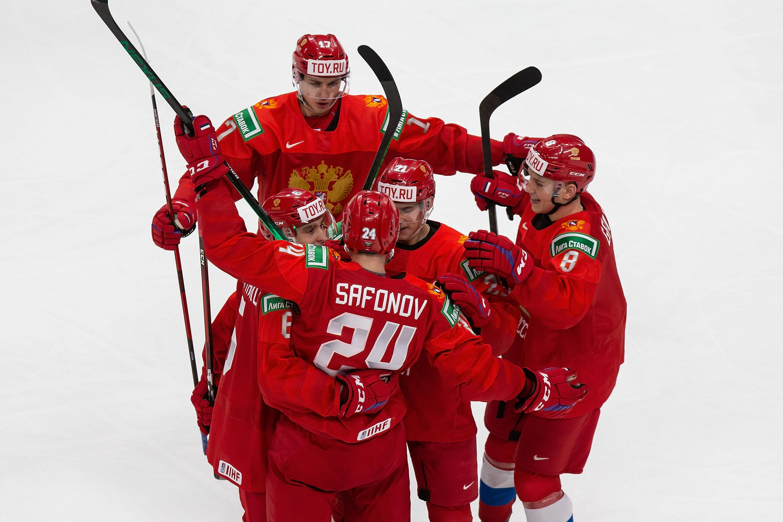 Ilya Safonov #24, Semyon Chistyakov #6, Yegor Chinakhov #21, Arseni Gritsyuk #8 and Shakir Mukhamadullin #17 of Russia celebrate a goal against the United States during the 2021 IIHF World Junior Championship at Rogers Place on December 25, 2020 in Edmonton, Canada.
