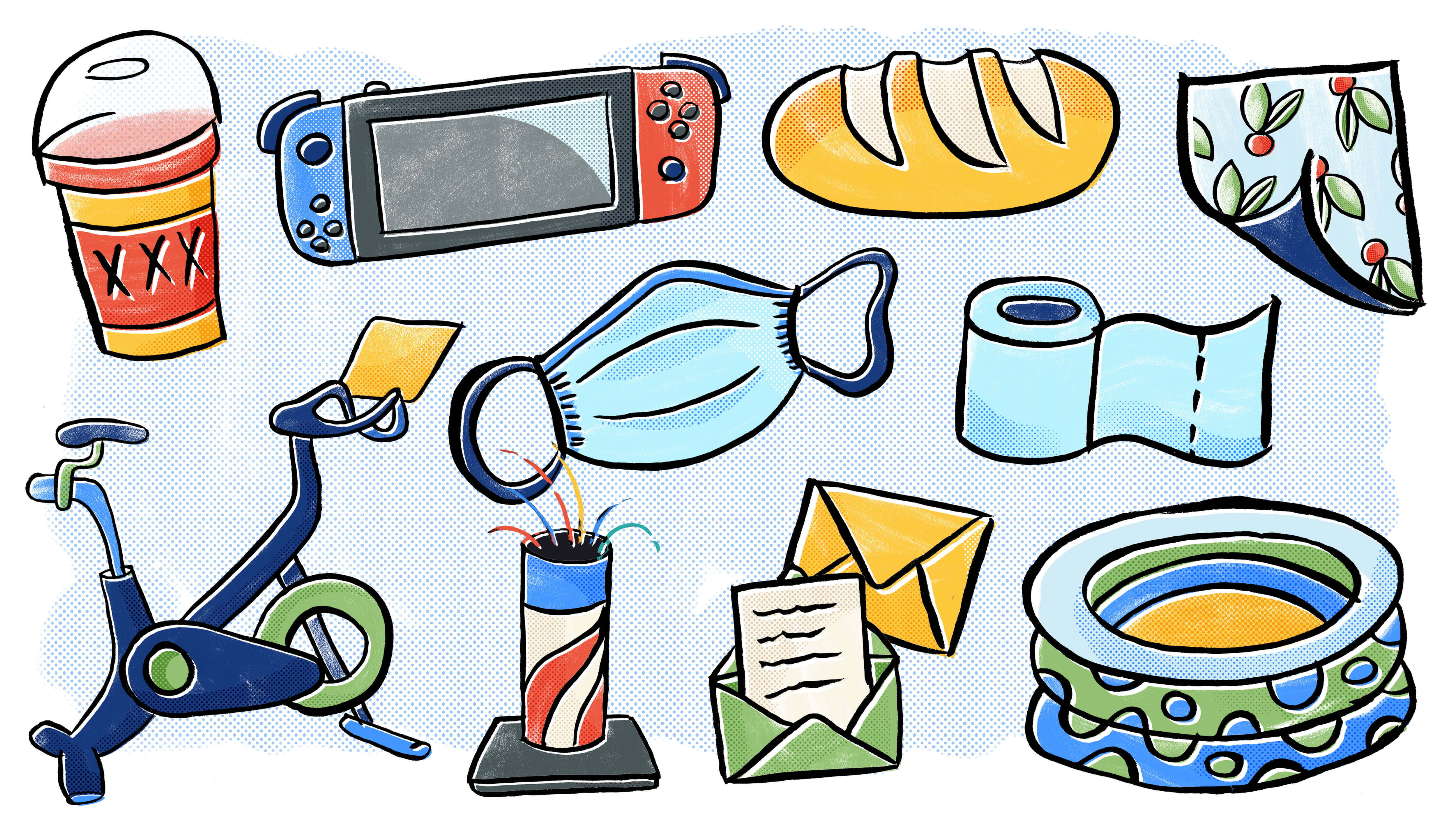 An illustration of a to-go beer, a Nintendo Switch, a Peloton bike, a protective face mask, fireworks, a loaf of bread, toilet paper, envelopes, a kiddie pool, and peel-and-stick wallpaper.