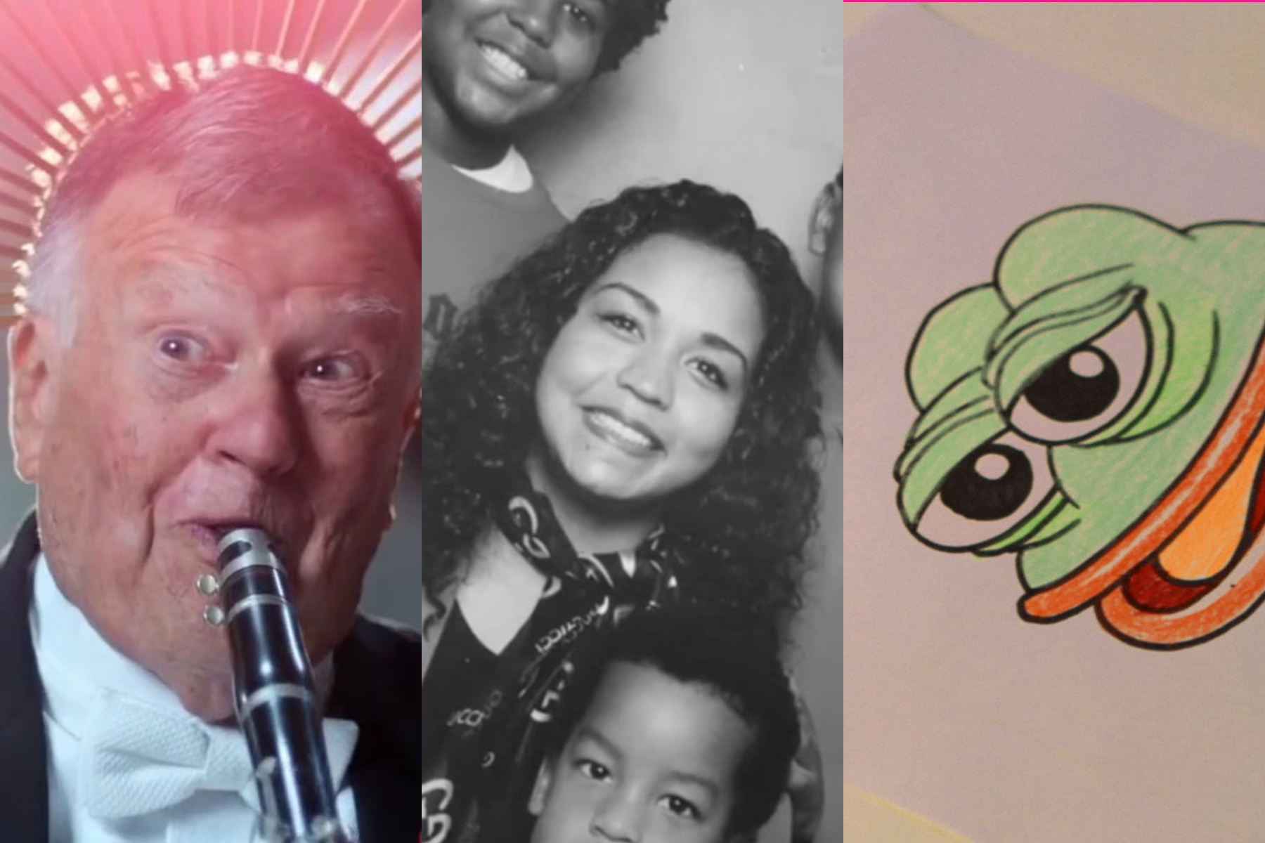 A triptych with images from three documentaries: An older man, a woman with her children, and a cartoon frog.