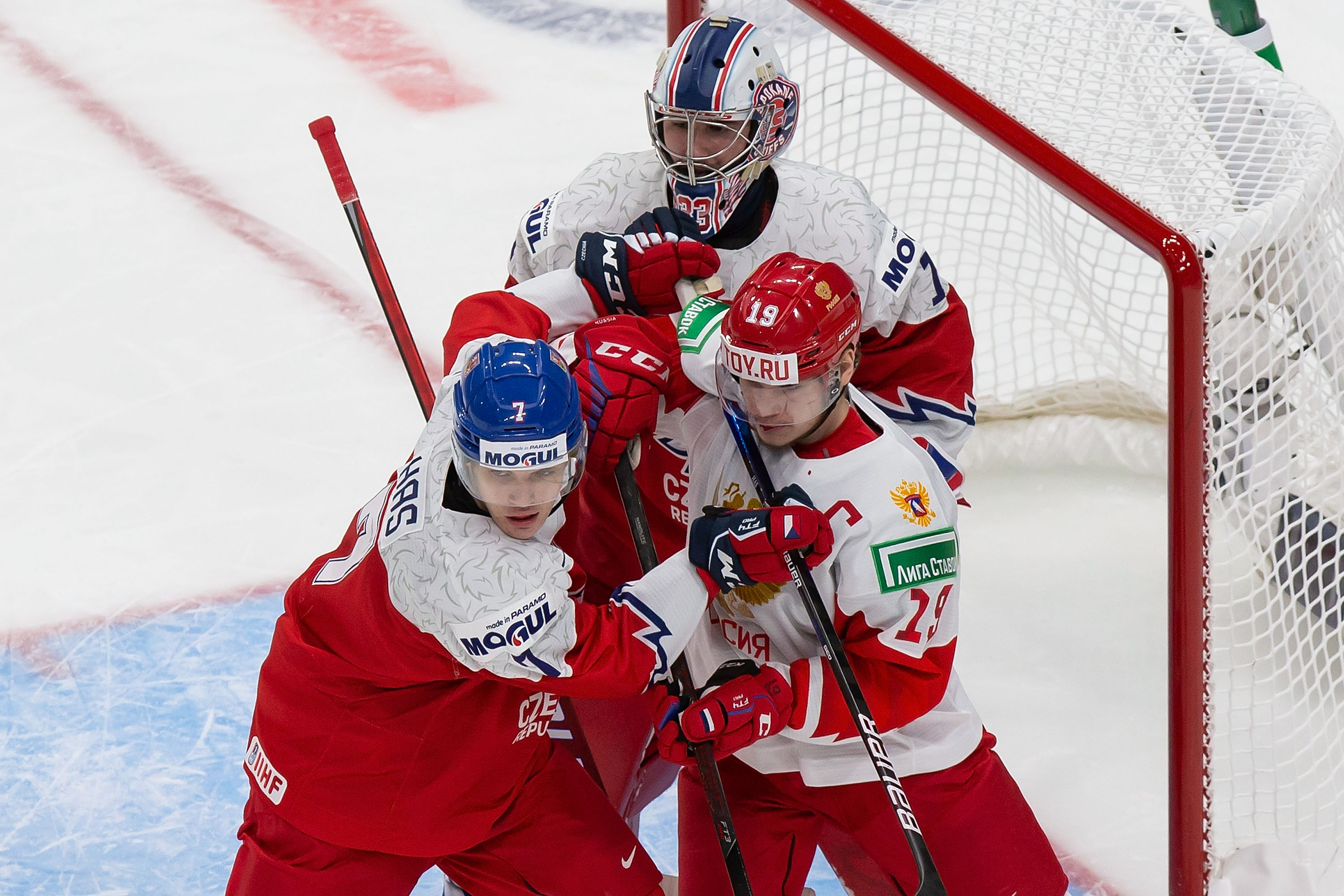 Vasili Podkolzin #19 of Russia skates against Martin Has #7 of the Czech Republic during the 2021 IIHF World Junior Championship at Rogers Place on December 27, 2020 in Edmonton, Canada.
