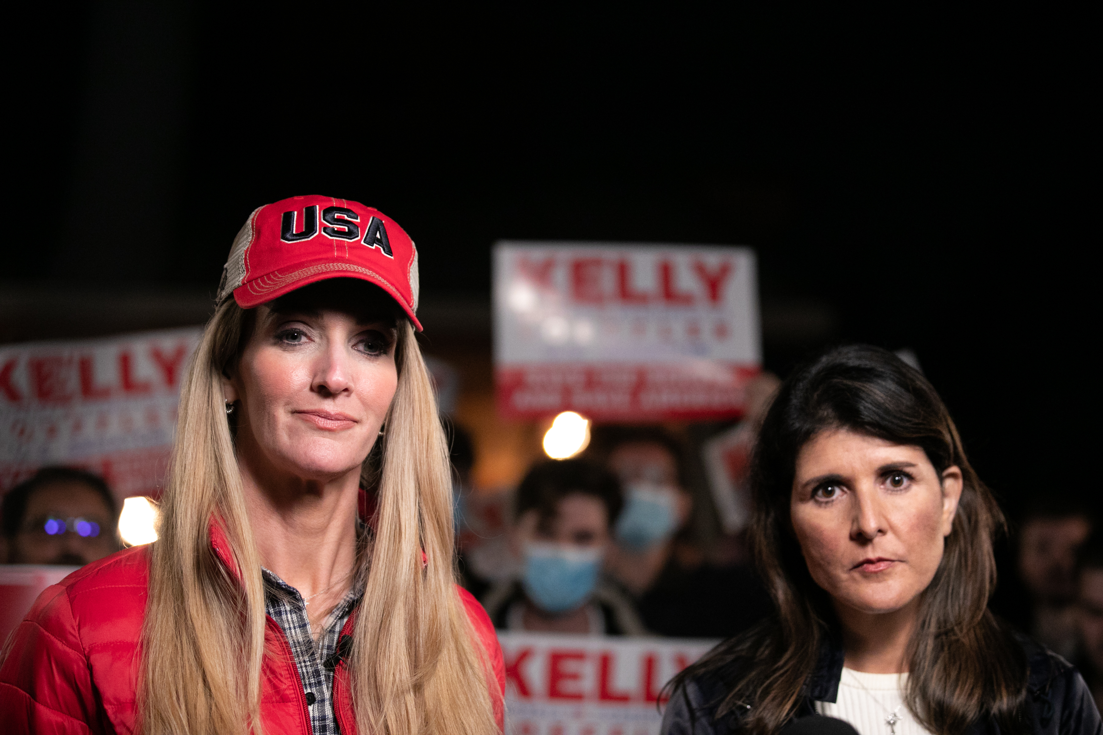 Georgia Republican Senate candidate Kelly Loeffler and former U.N. Ambassador Nikki Haley take questions from the media during a rally on December 20, 2020 in Cumming, Georgia. The Senate Firewall campaign event comes ahead of a crucial runoff election for Sen. David Perdue and Loeffler on January 5th that will determine what party controls the United States Senate.
