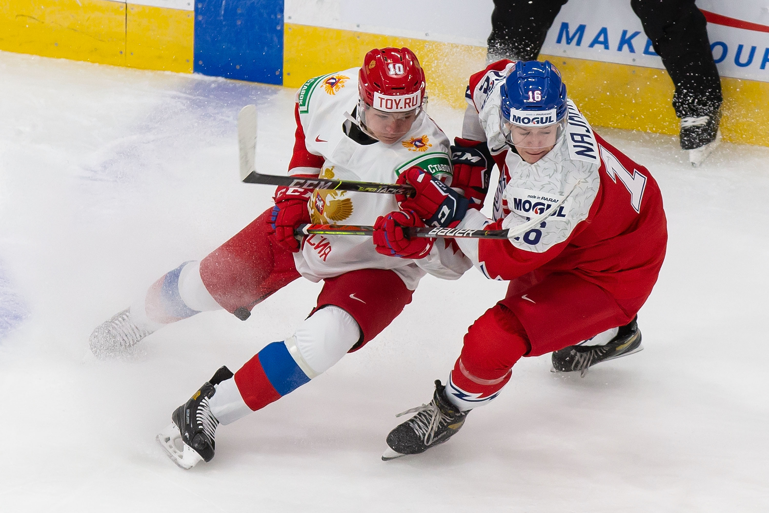 Vladislav Firstov #10 of Russia skates against Adam Najman #16 of the Czech Republic during the 2021 IIHF World Junior Championship at Rogers Place on December 27, 2020 in Edmonton, Canada.