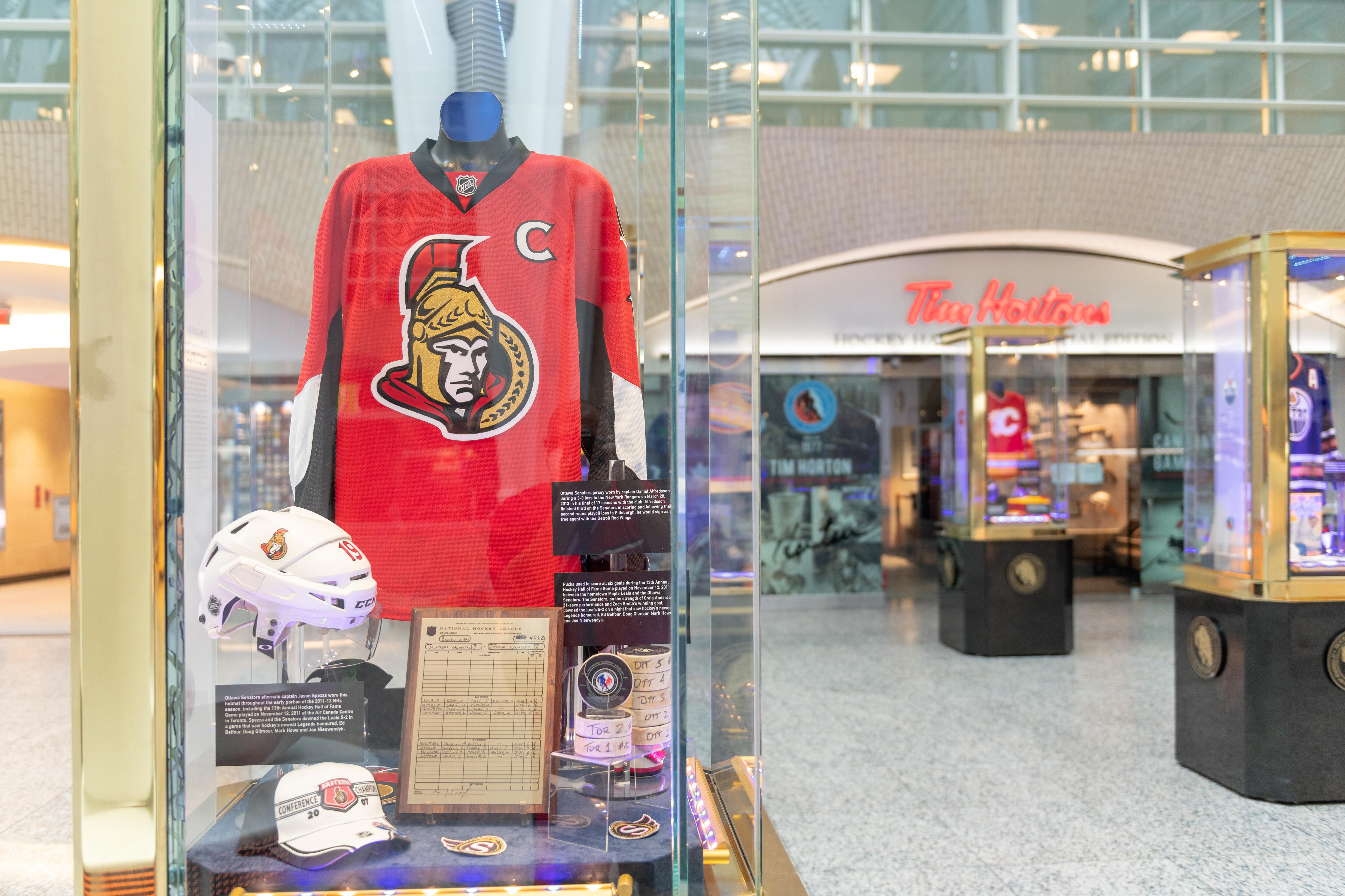 Ottawa Senators uniform exhibit at the Spirit of Hockey...