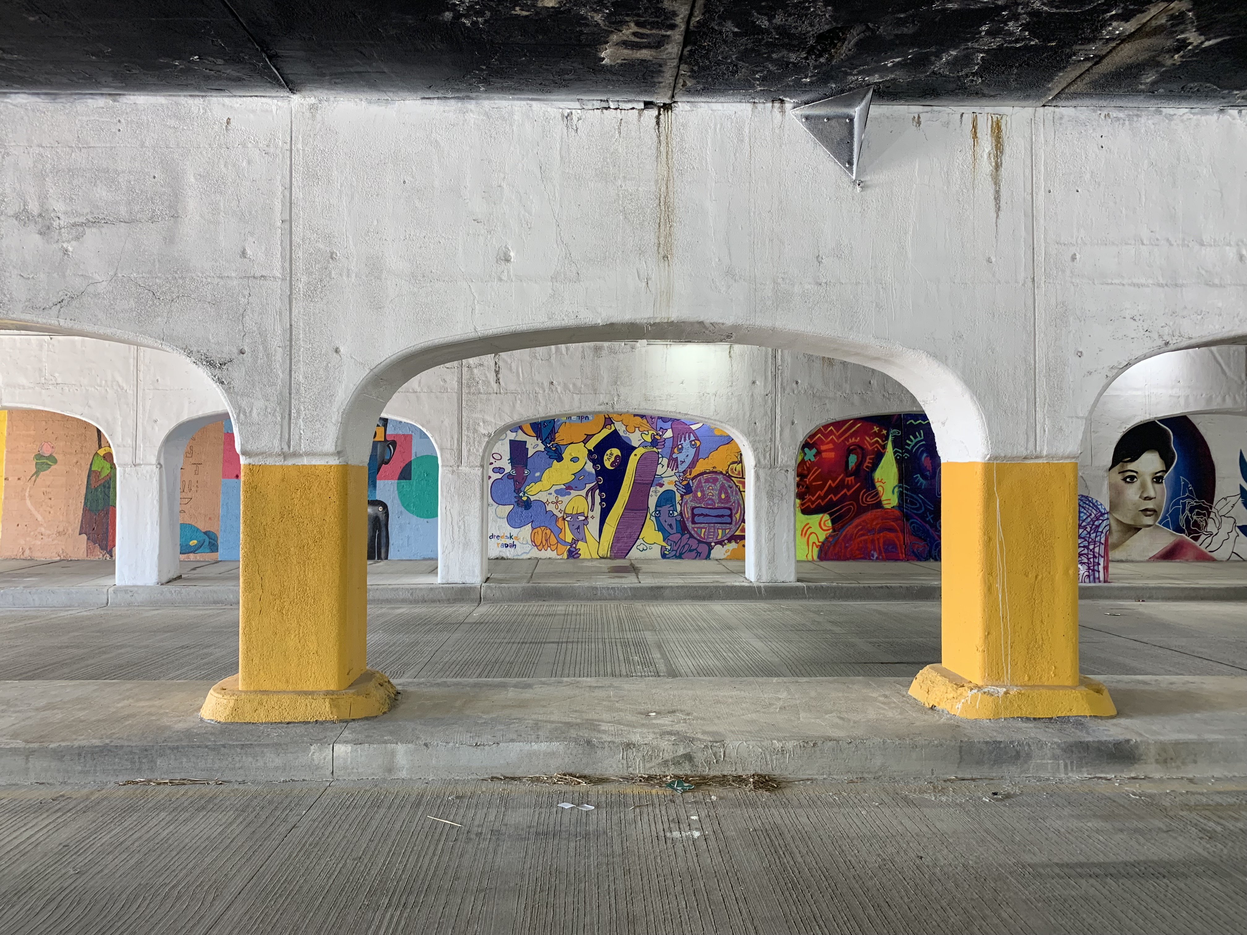 A snapshot of the colorful murals painted in a viaduct on Peoria Street between 16th Street and 16th Place as part of a project organized in the fall by Pilsen gallery owner Delilah Martinez.