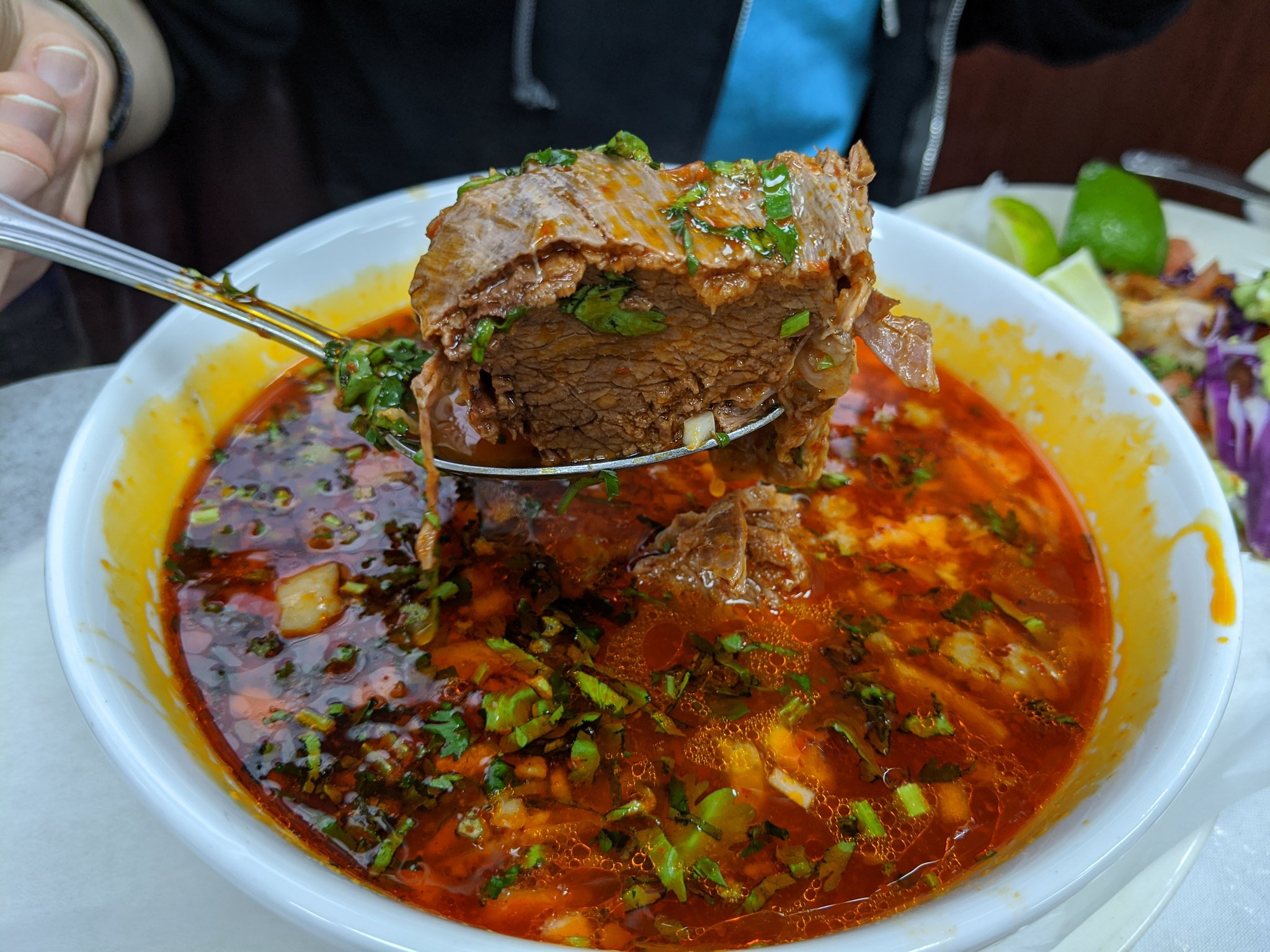 Beef birria from Mi Dulce Mexico in Jackson Heights, New York