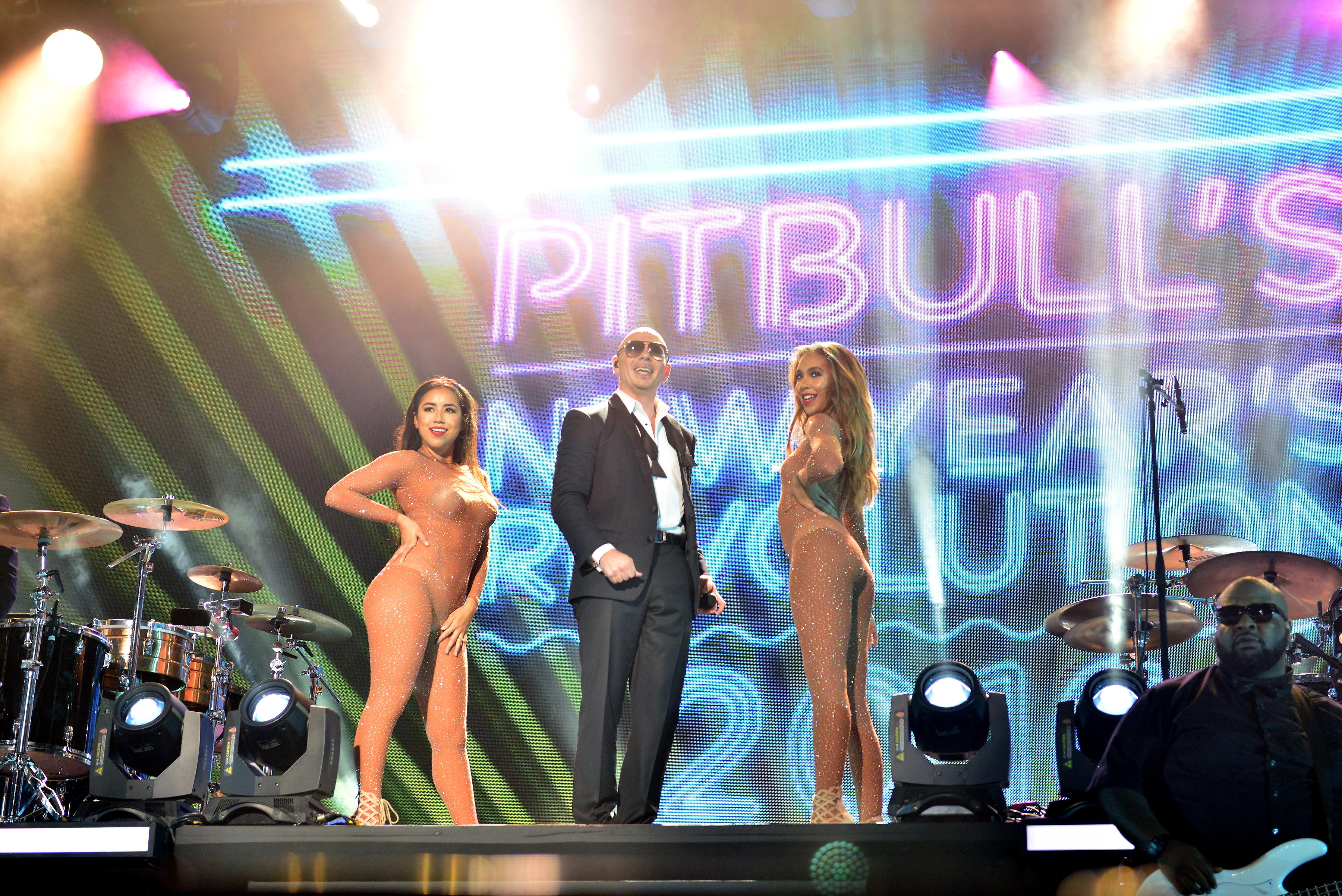 PitBull performs at their New Year's Eve Revolution