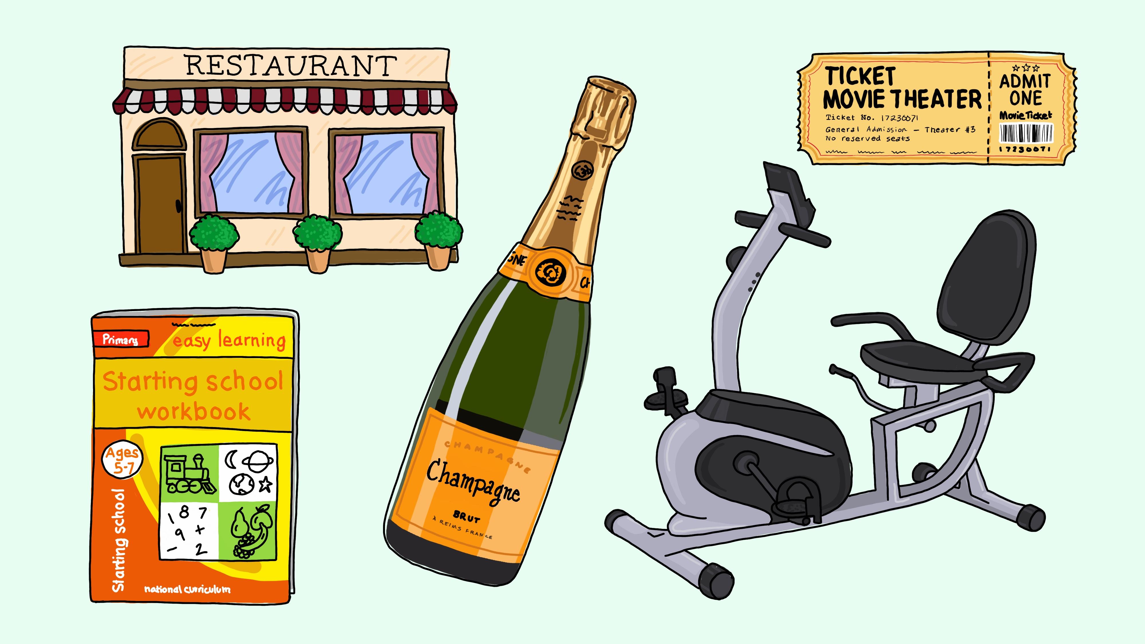 A champagne bottle, a stationary bike, a restaurant, a ticket, a workbook