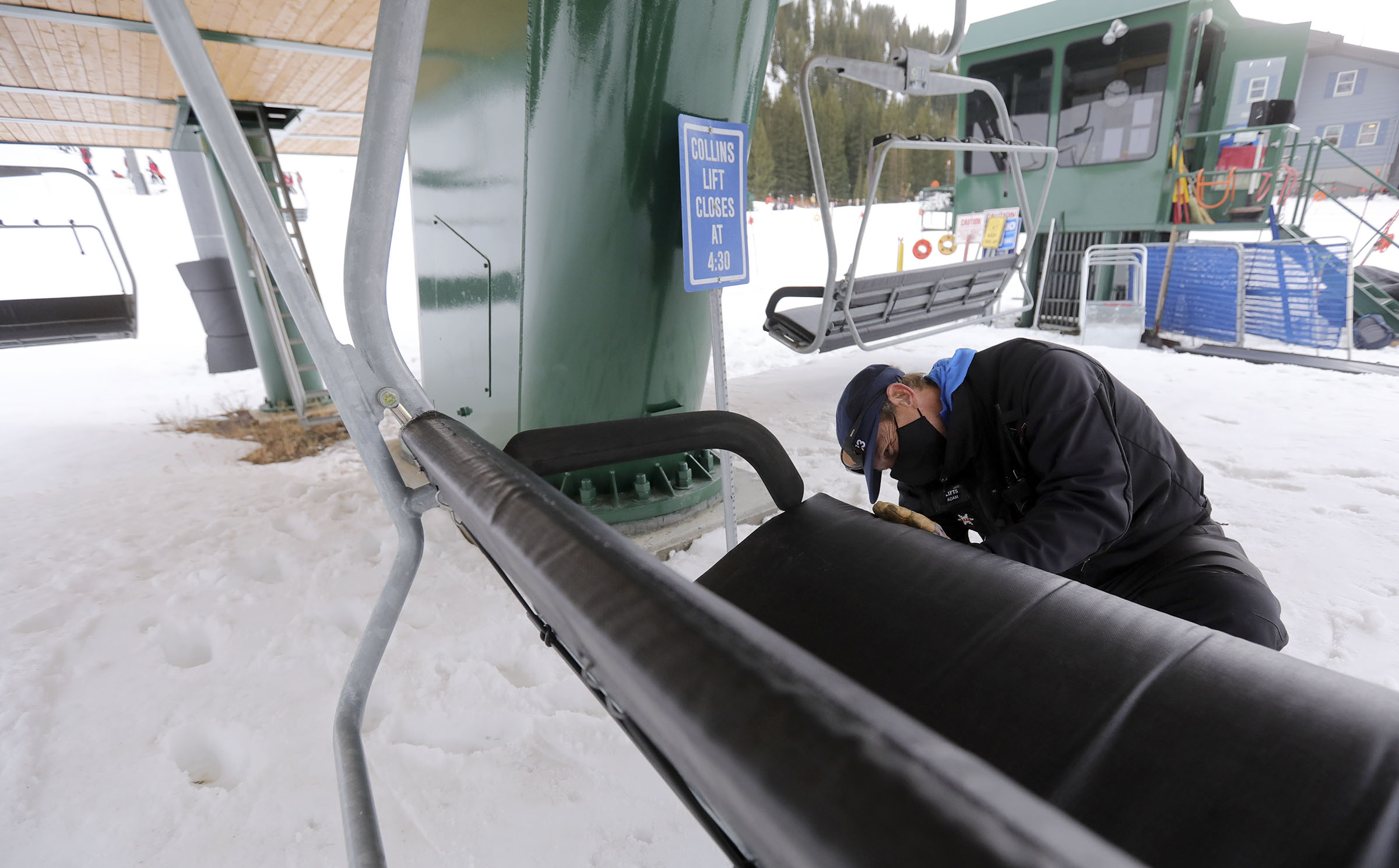 Alta lift foreman Adam Genovese preps chairs on the Collins lift at Alta Ski Area in Alta on Wednesday, Nov. 18, 2020.