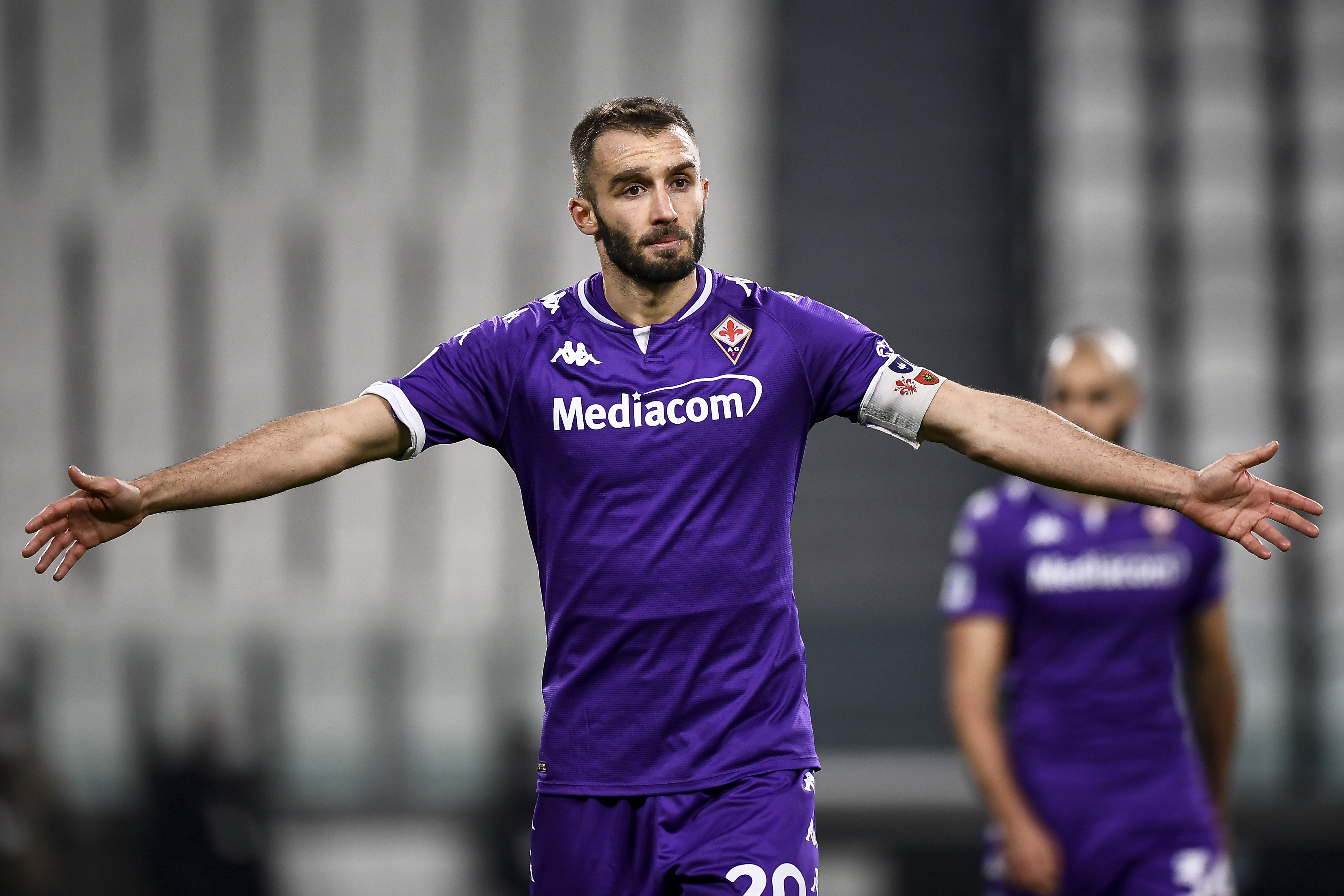 German Pezzella of ACF Fiorentina gestures during the Serie...