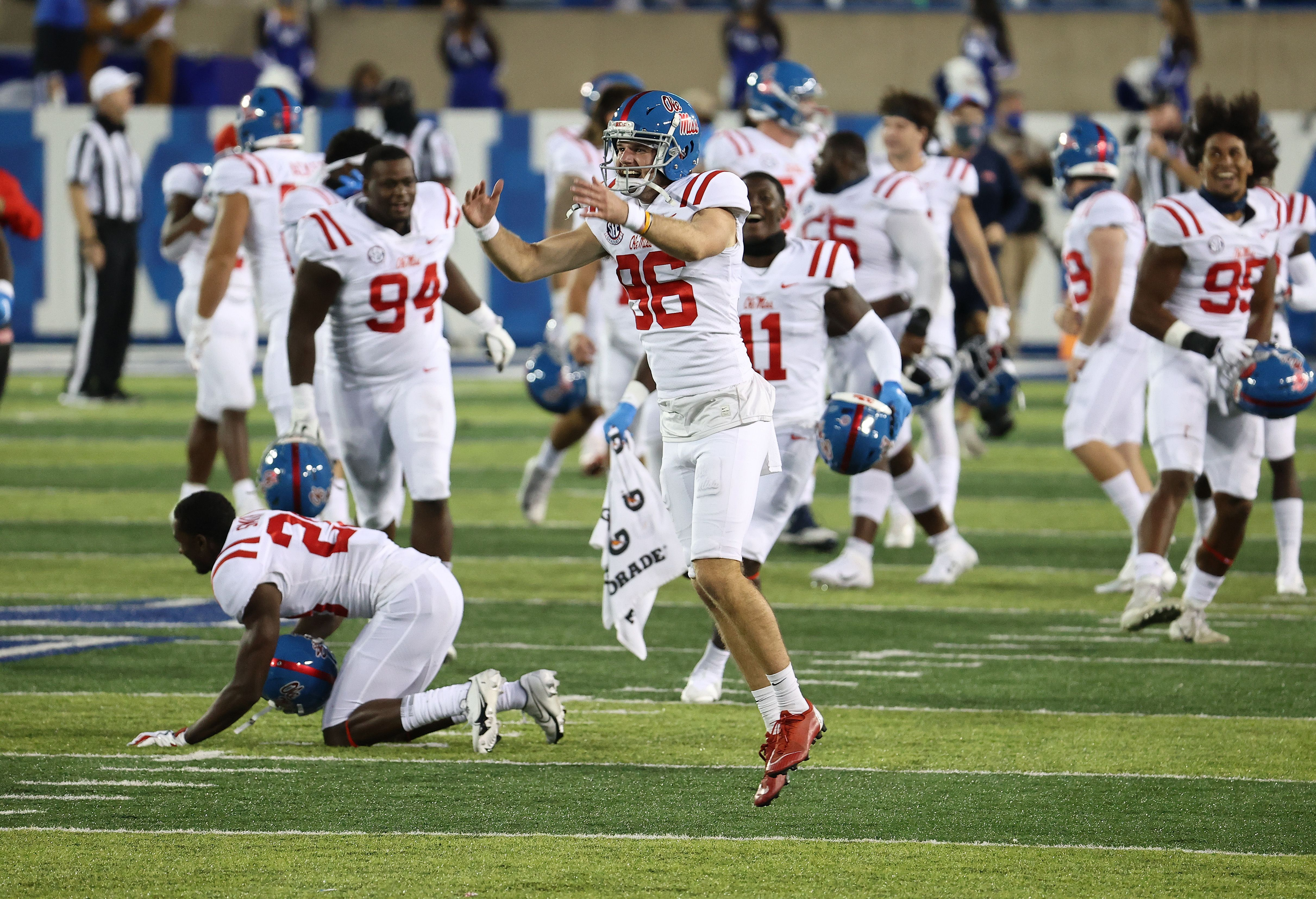 Mac Brown #86 of the Ole Miss Rebels celebrates after the 42-41 OT win over the Kentucky Wildcats at Commonwealth Stadium on October 03, 2020 in Lexington, Kentucky.