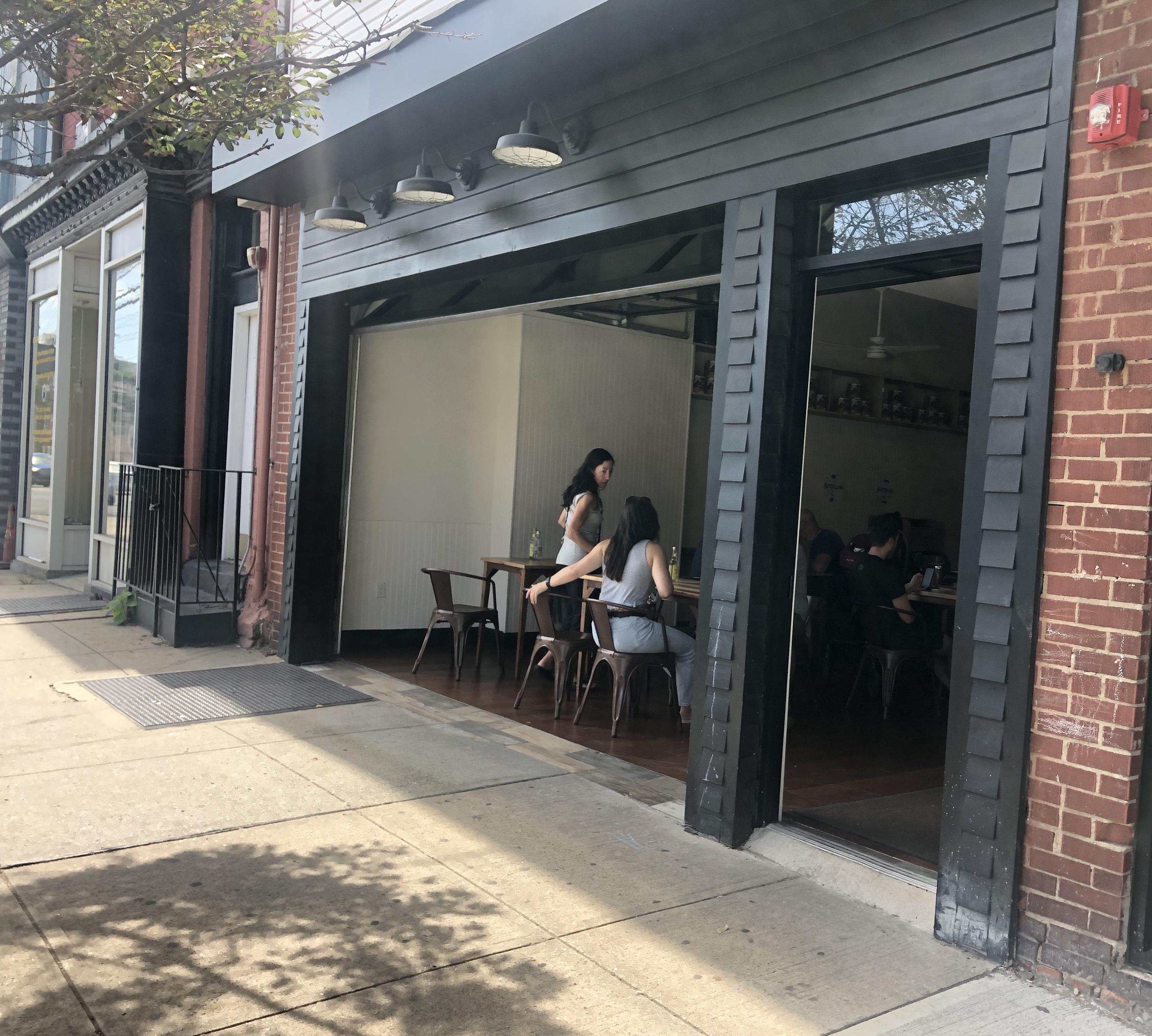 The garage-door style entrance to Bread & Salt