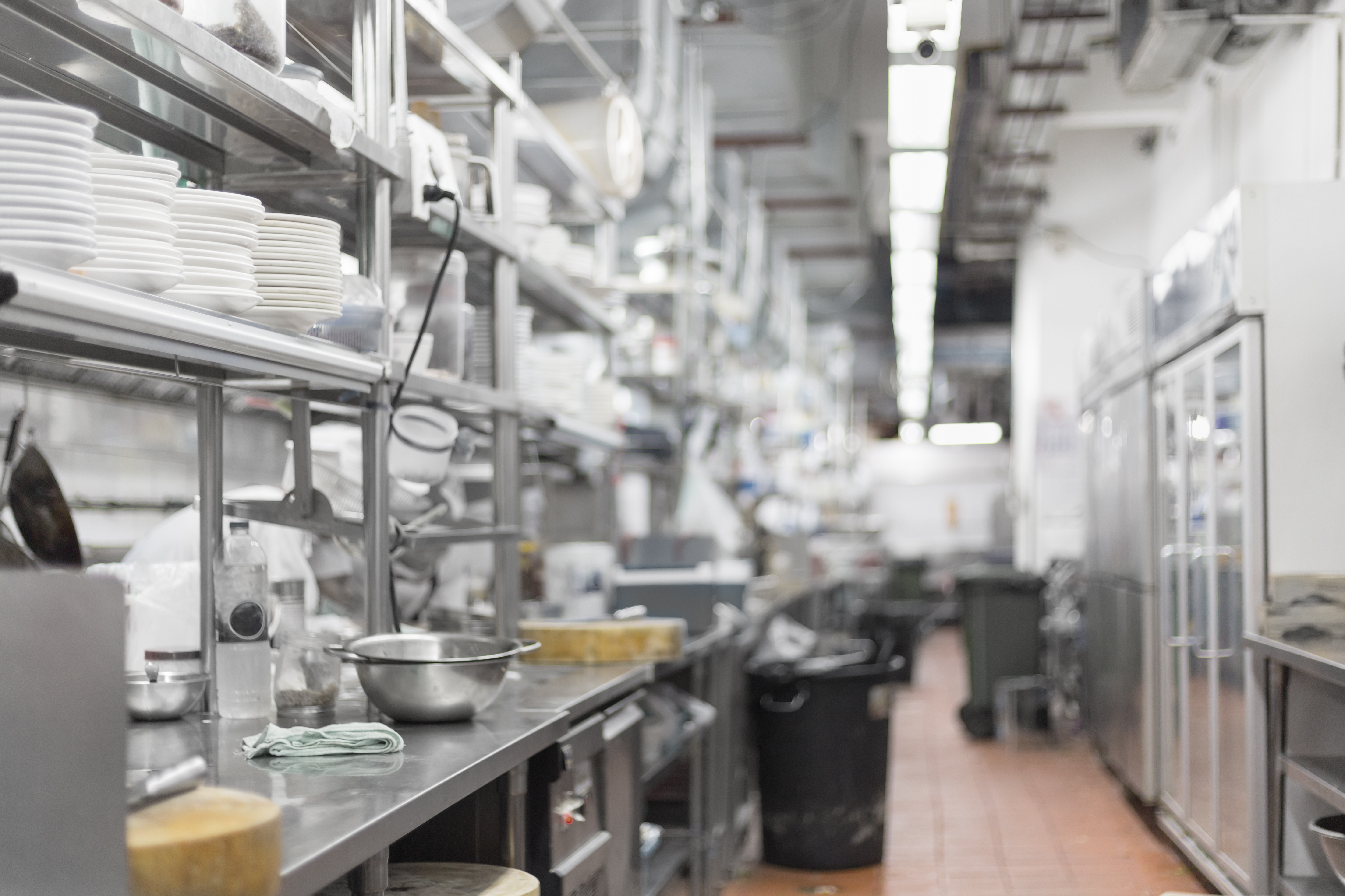 A restaurant kitchen with a worker behind the line, covered by shelves of plates and dinnerware