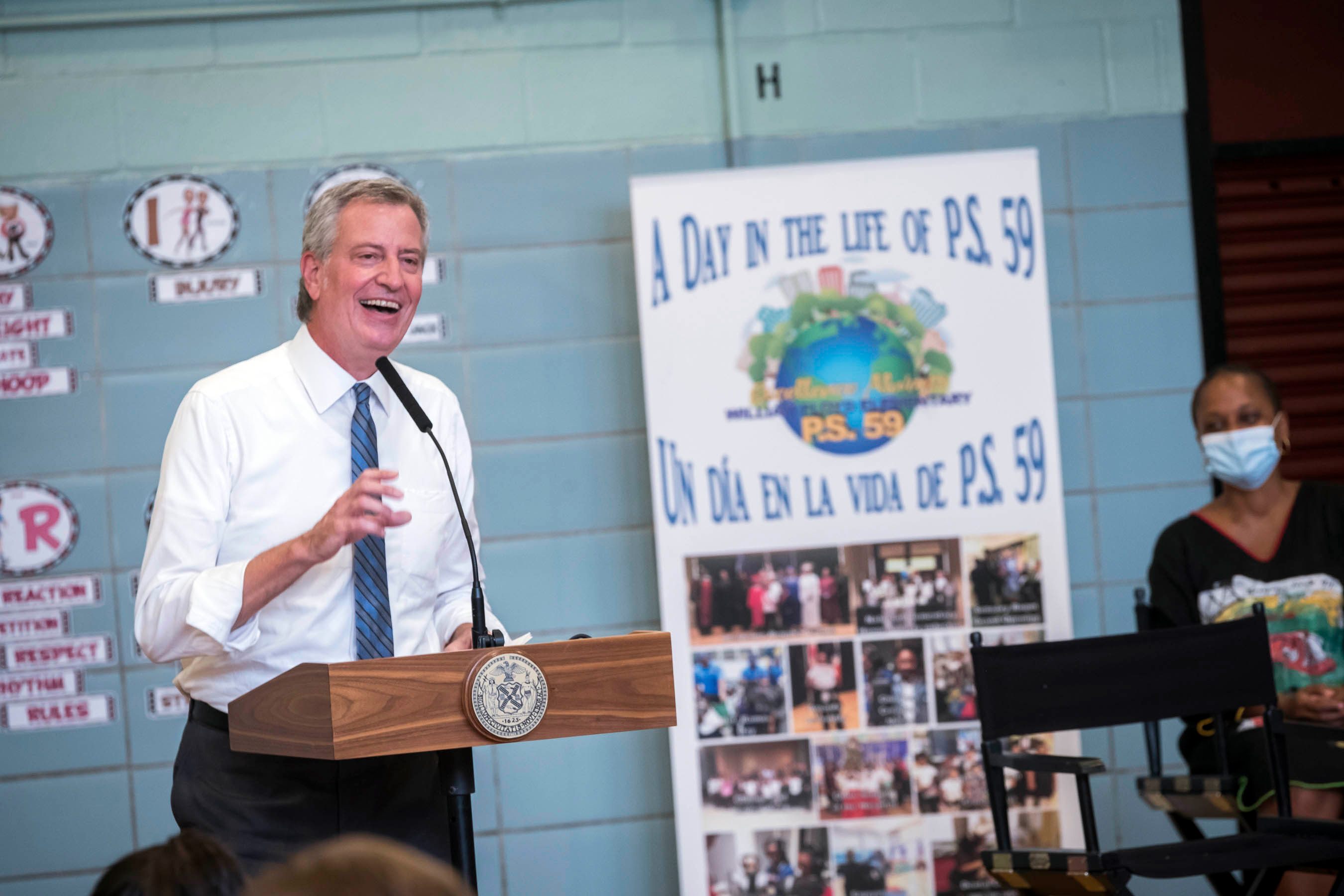 Mayor Bill de Blasio toured PS 59 in Brooklyn, Sept. 2, 2020.
