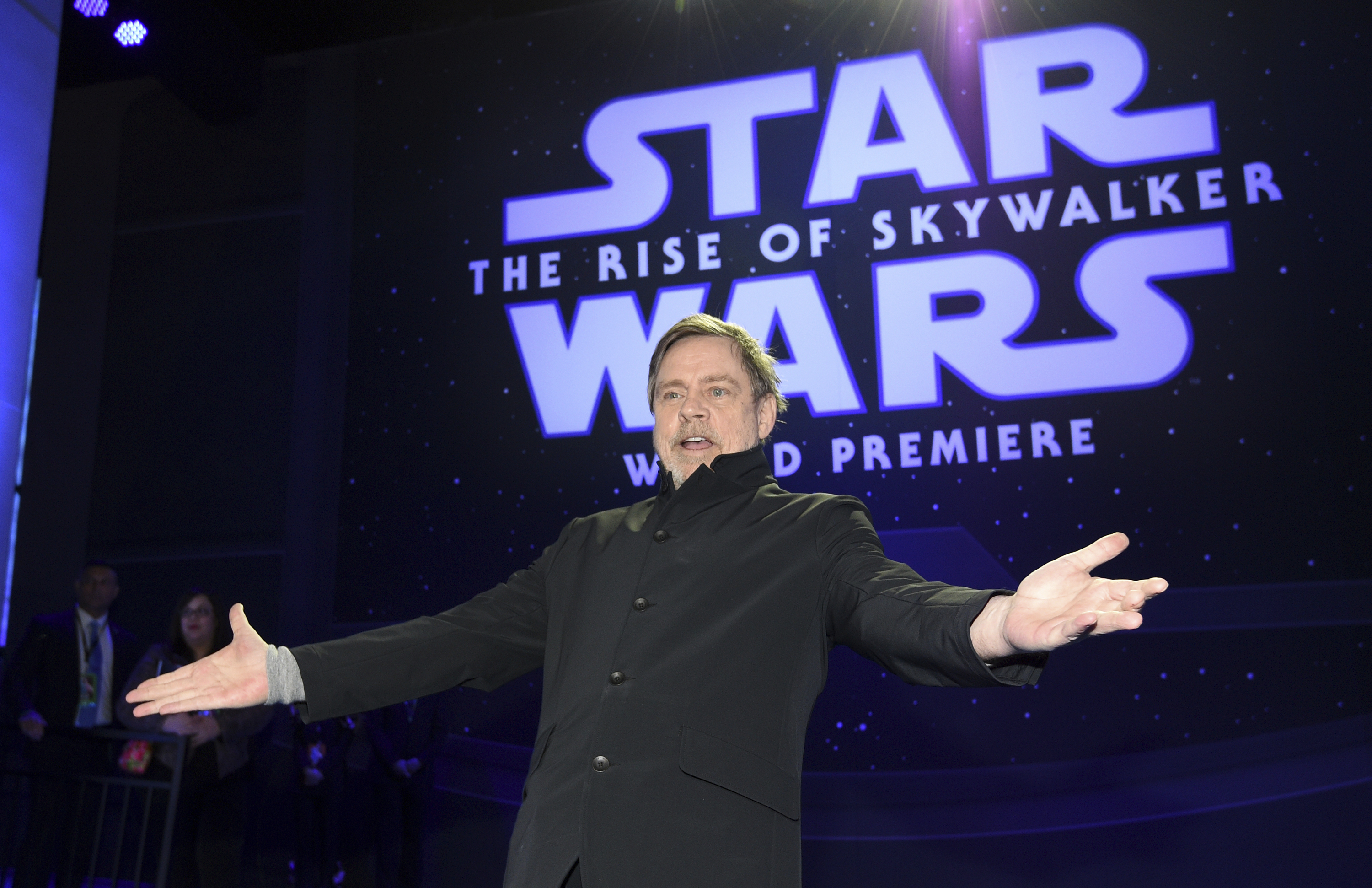 """Mark Hamill arrives at the world premiere of """"Star Wars: The Rise of Skywalker"""" on Monday, Dec. 16, 2019, in Los Angeles"""