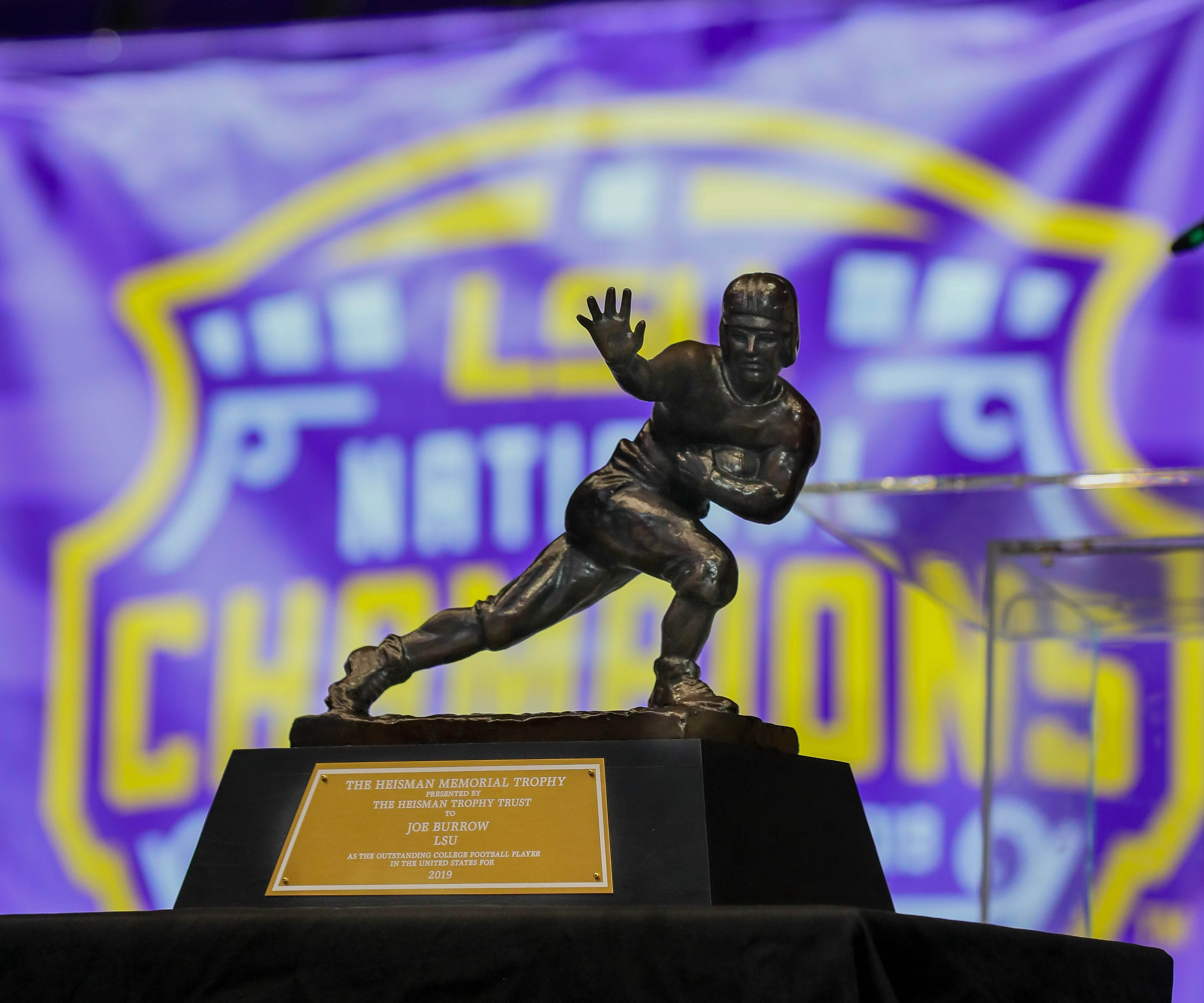 View of the Heisman trophy on display during the LSU championship trophy presentation at Pete Maravich Assembly Center.