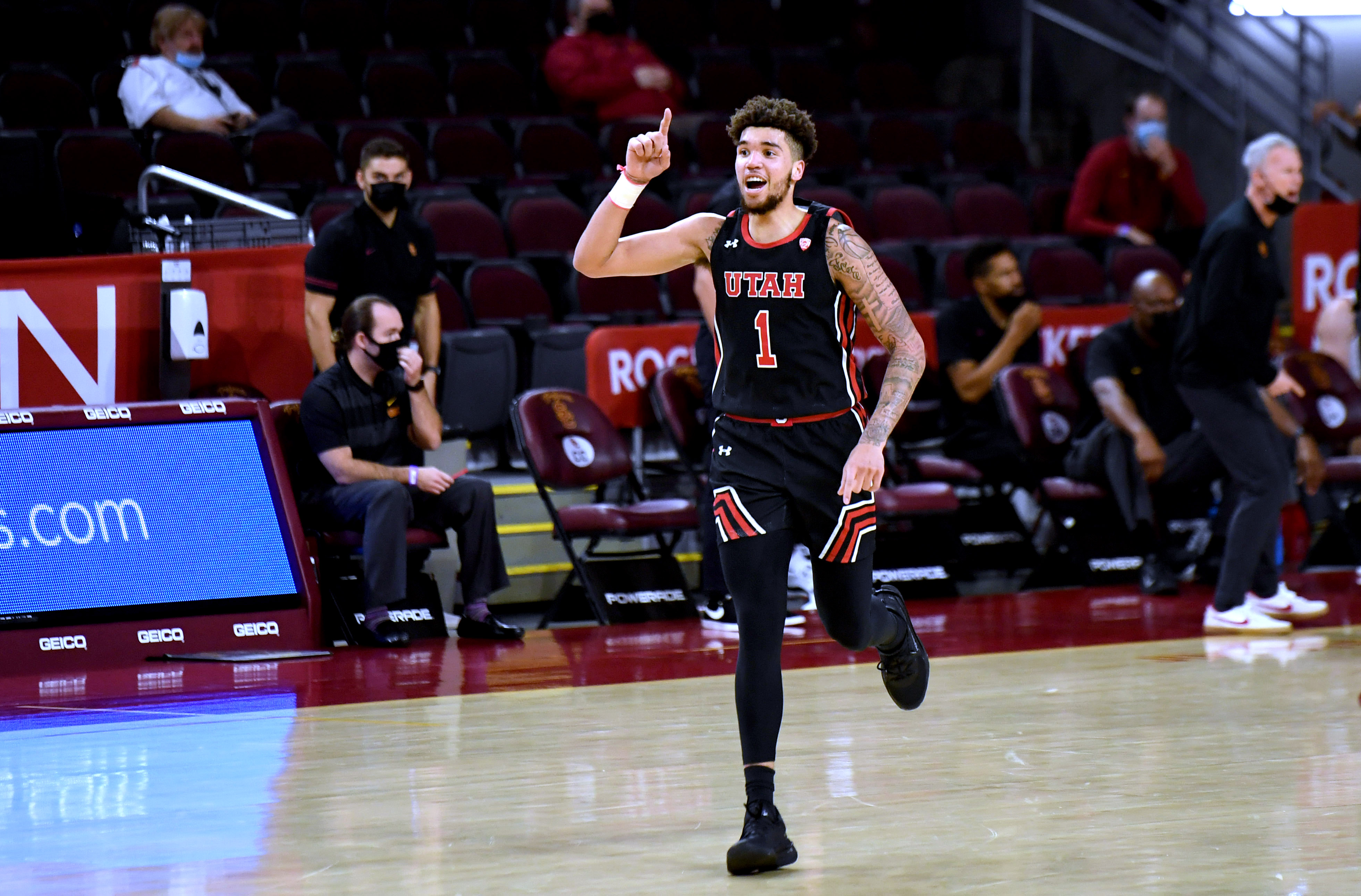 USC Trojans defeated the Utah Utes 64-46 during NCAA basketball game at Galen Center in Los Angeles.