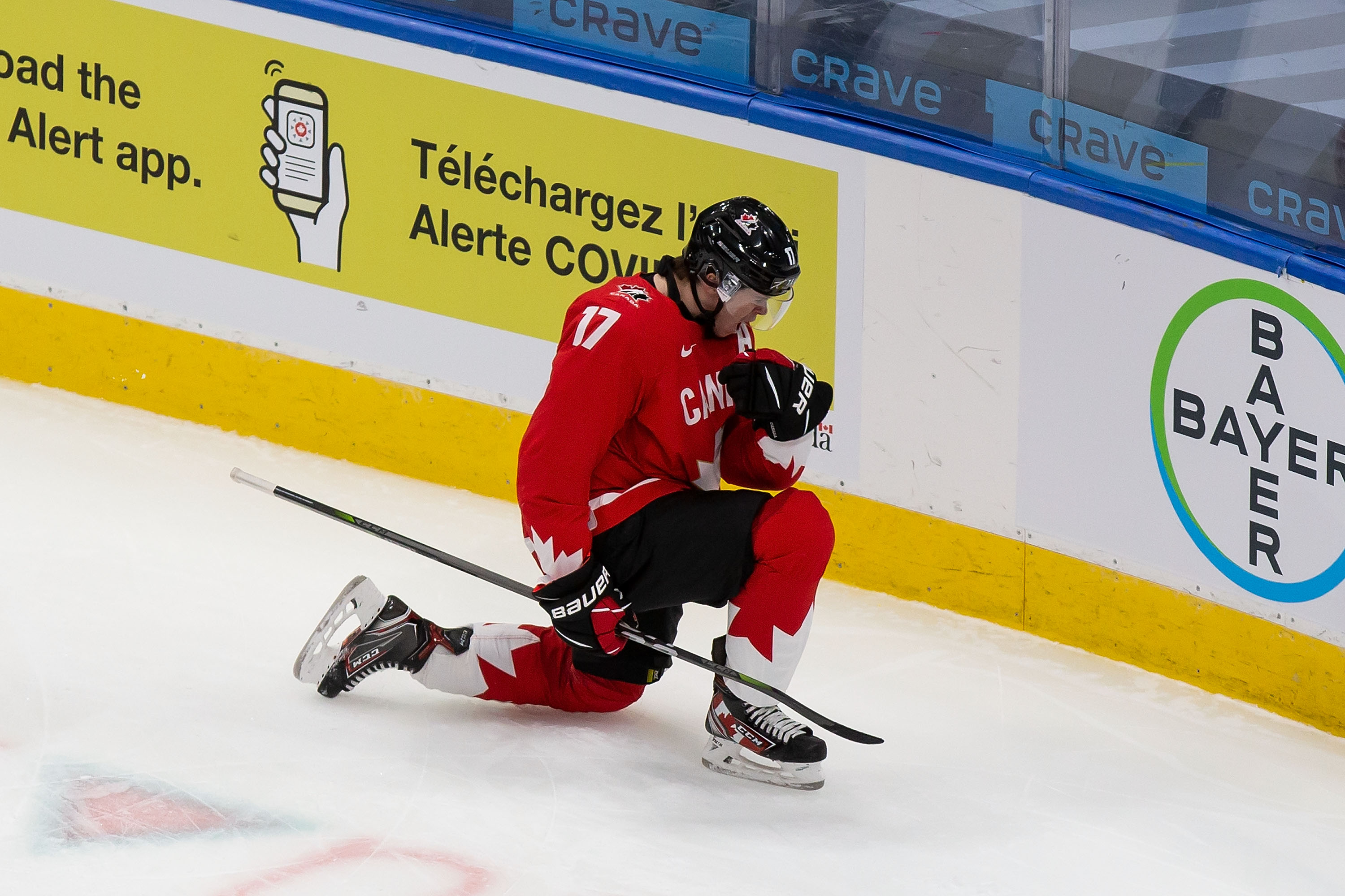 Connor McMichael #17 of Canada celebrates his goal against Russia during the 2021 IIHF World Junior Championship semifinals at Rogers Place on January 4, 2021 in Edmonton, Canada.