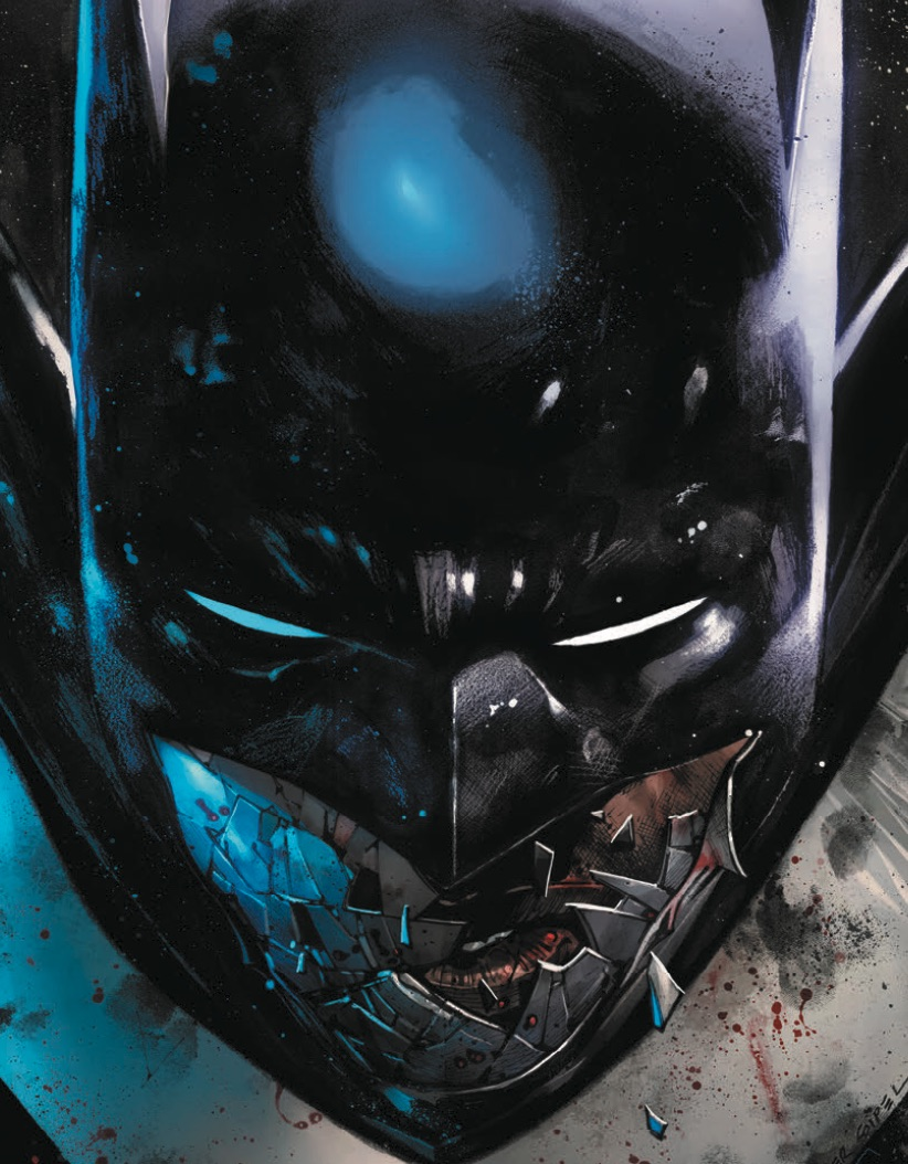 Tim Fox as Next Batman in Future State close up as cowl shatters