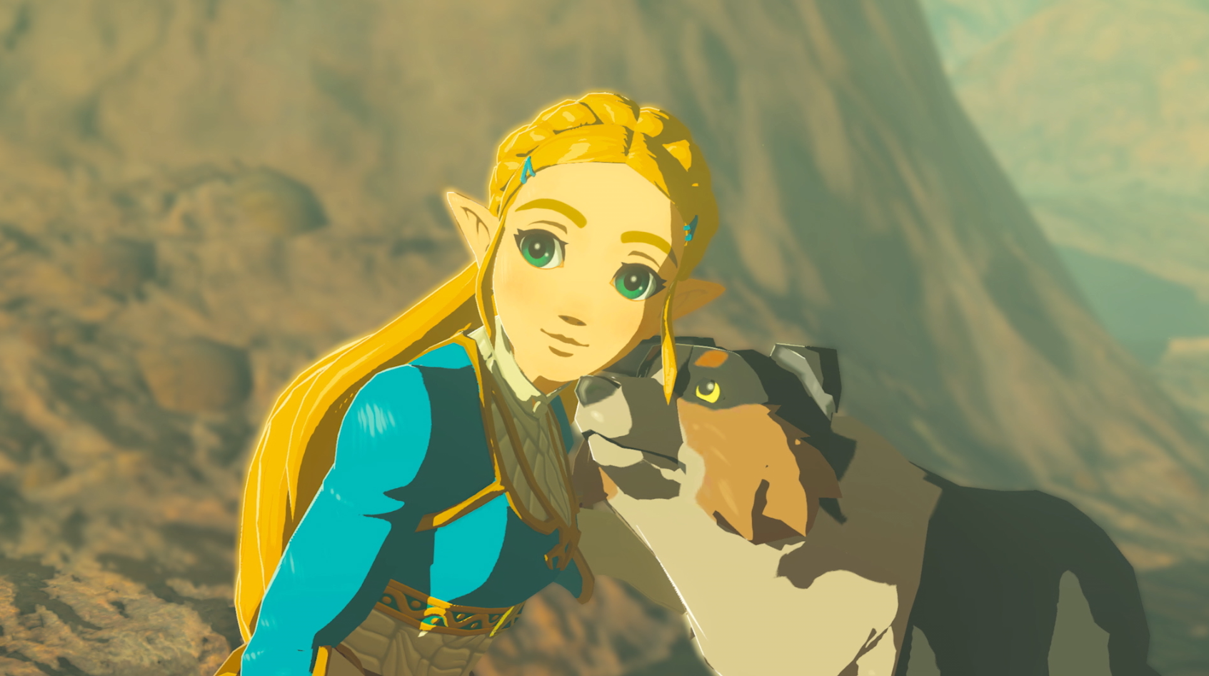 Zelda with a dog in Breath of the Wild's second DLC